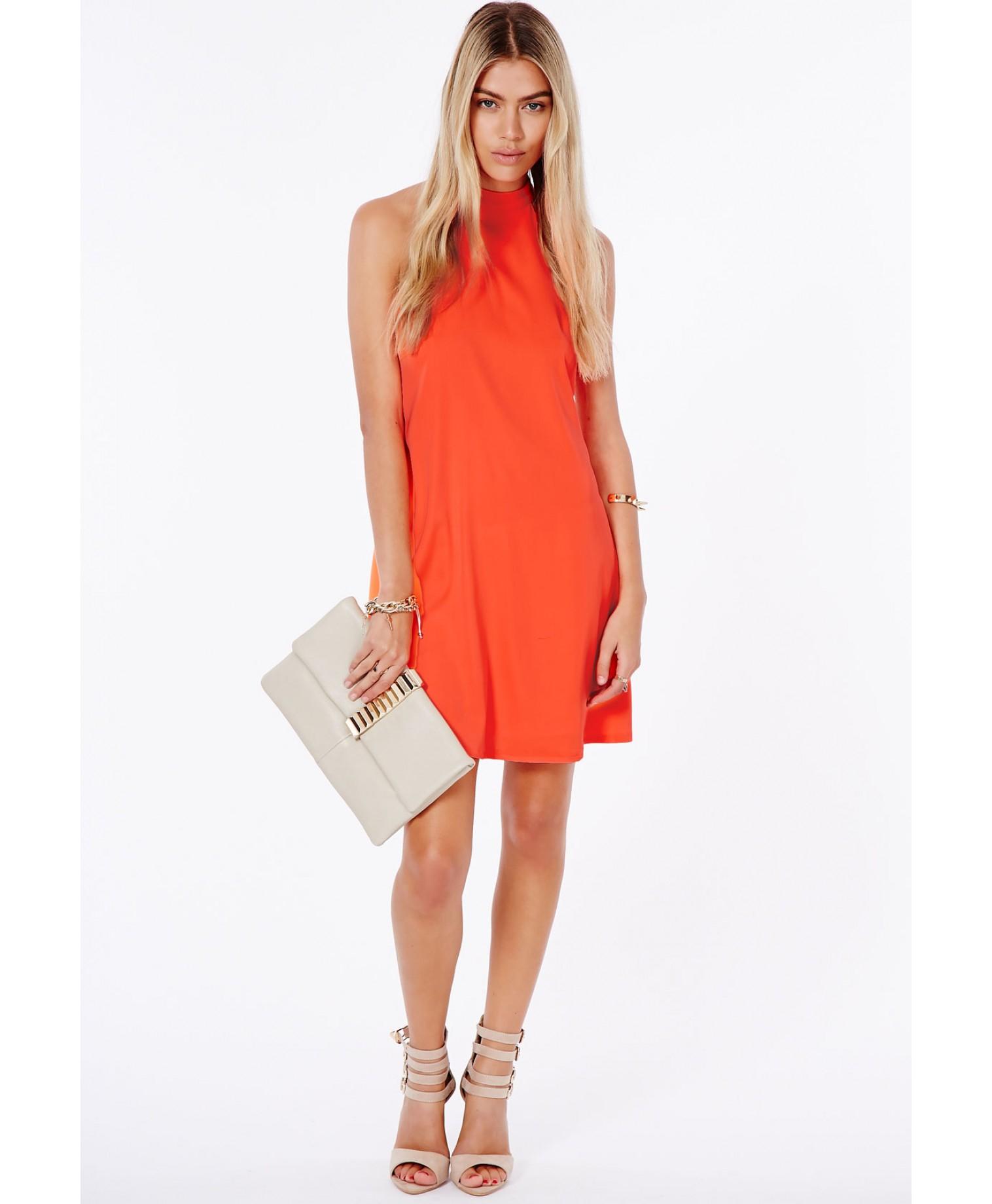 Missguided Nikola Halterneck Shift Dress In Neon Orange in ...