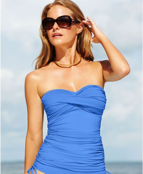 Anne Cole Twist Front Ruched Tankini Top In Blue Indigo