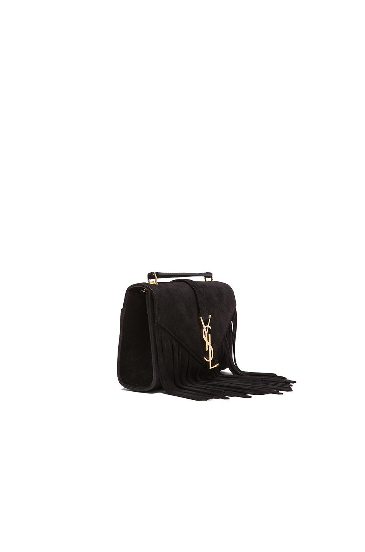 yves saint laurent bags sale - monogram small suede shoulder bag w/chain fringe, black