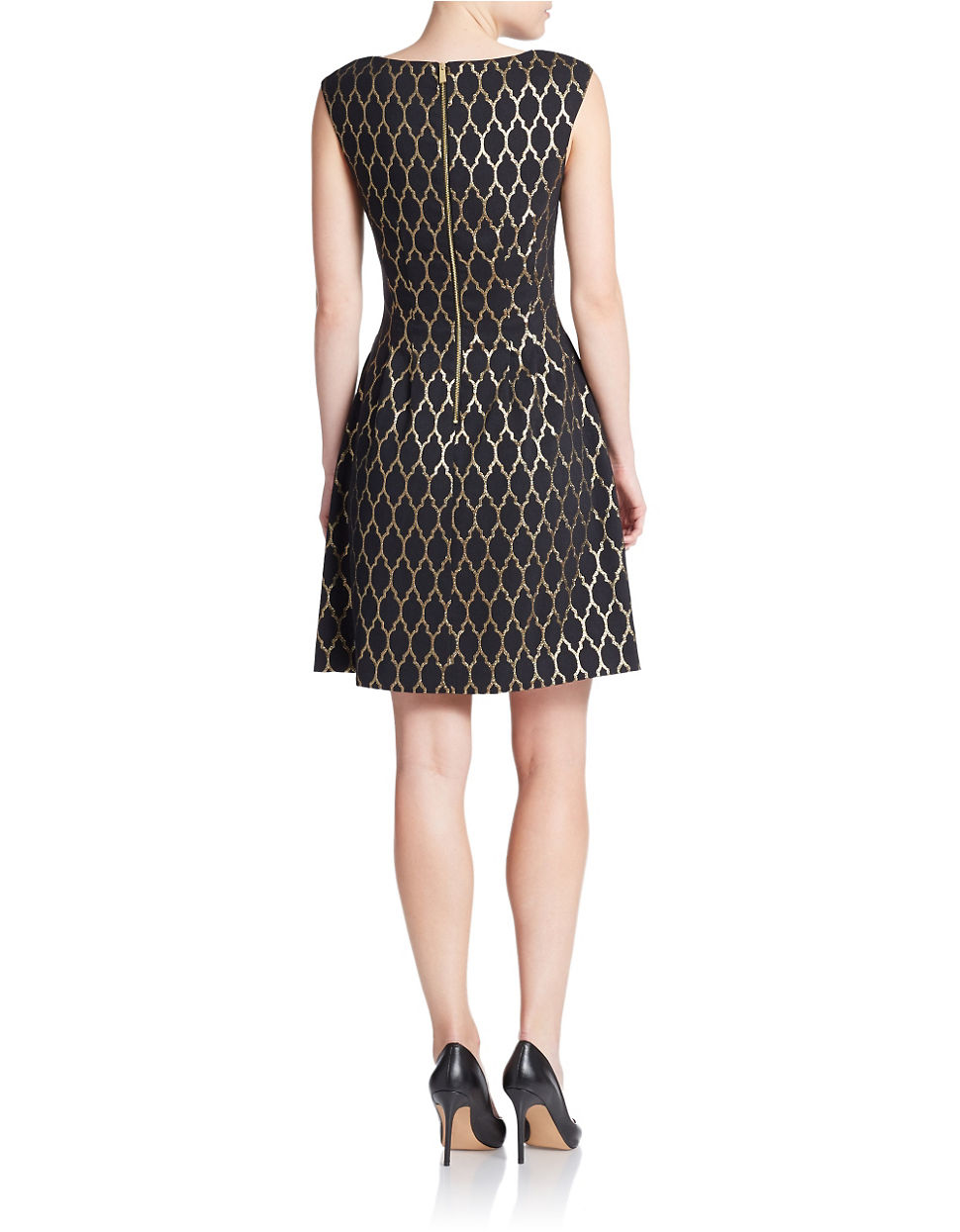 Vince Camuto Metallic Patterned Fit And Flare Dress In