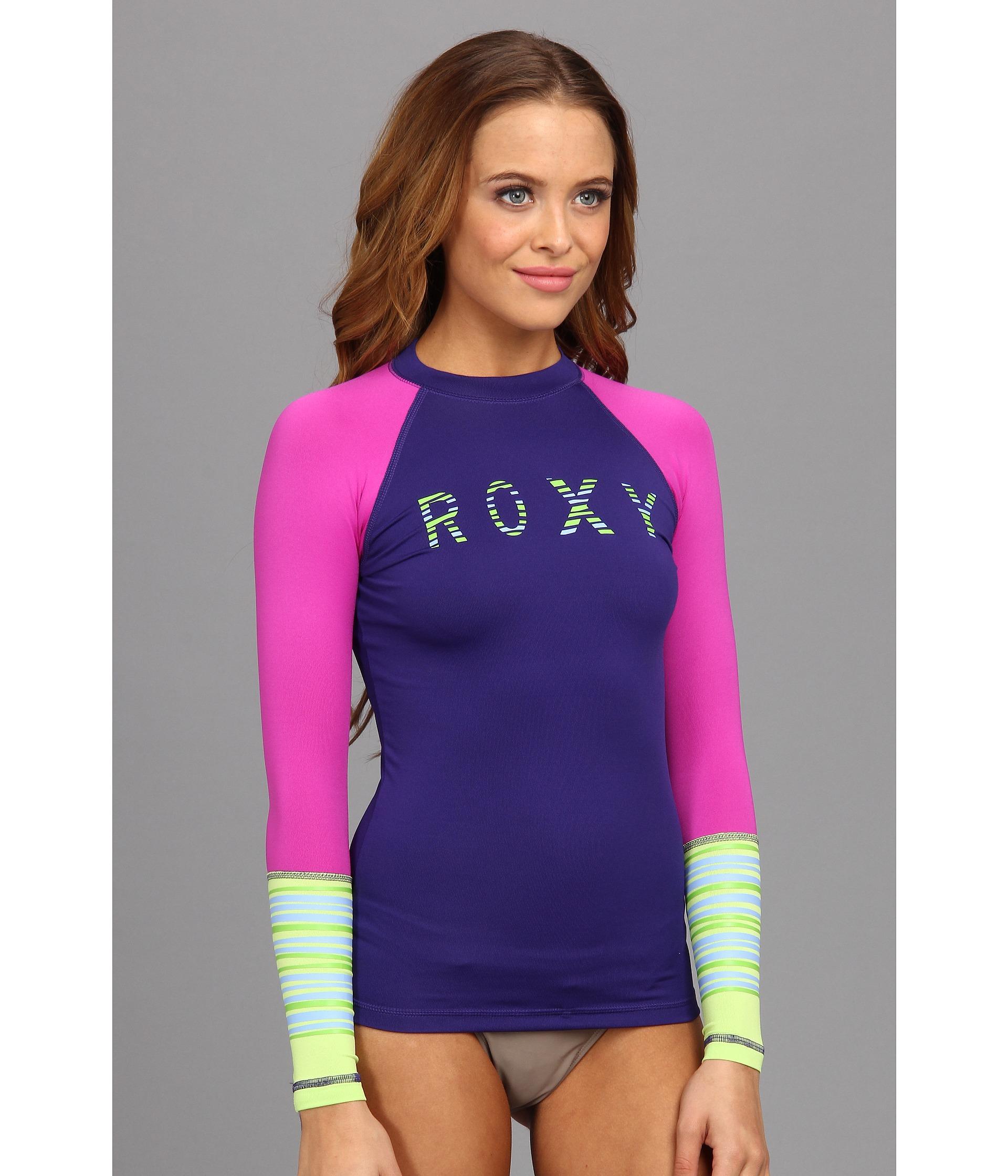 Lyst Roxy Perfect Stripe L S Surf Shirt In Green