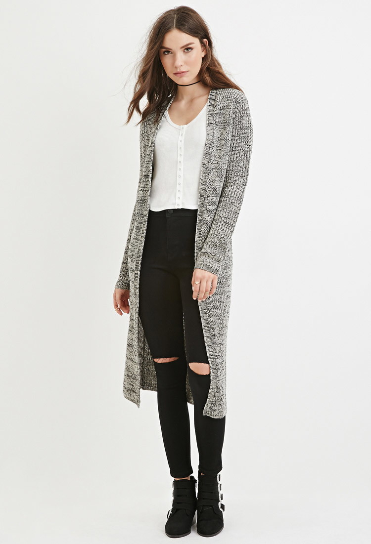 Forever 21 Marled Open-front Longline Cardigan in Gray | Lyst