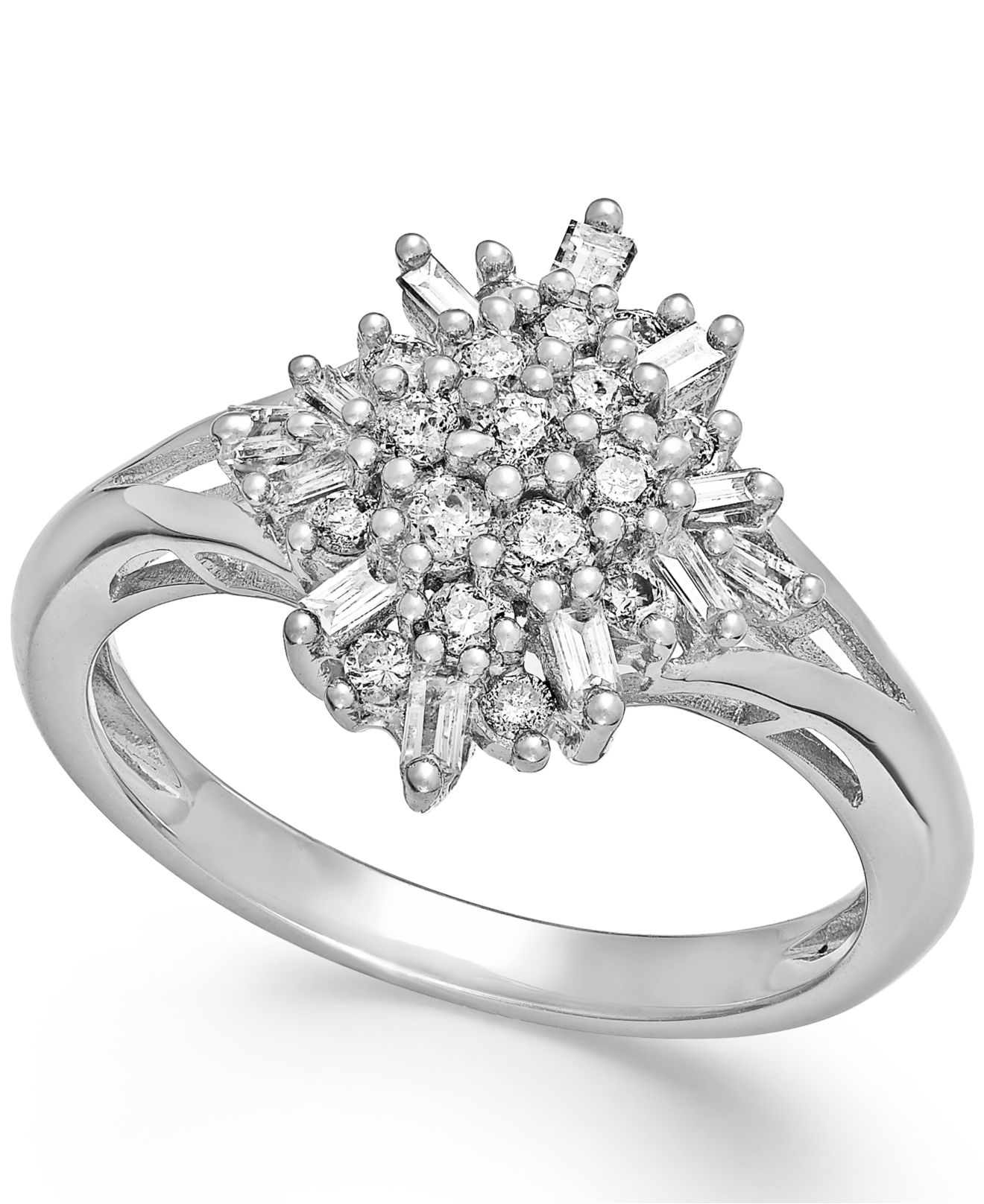 Macy s Diamond Flower Cluster Ring In Sterling Silver 1 2 Ct T w in S