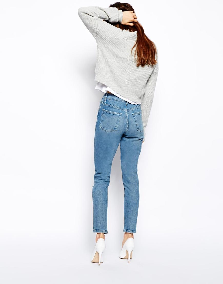 Lyst Asos Farleigh High Waist Slim Mom Jeans In Rosebowl