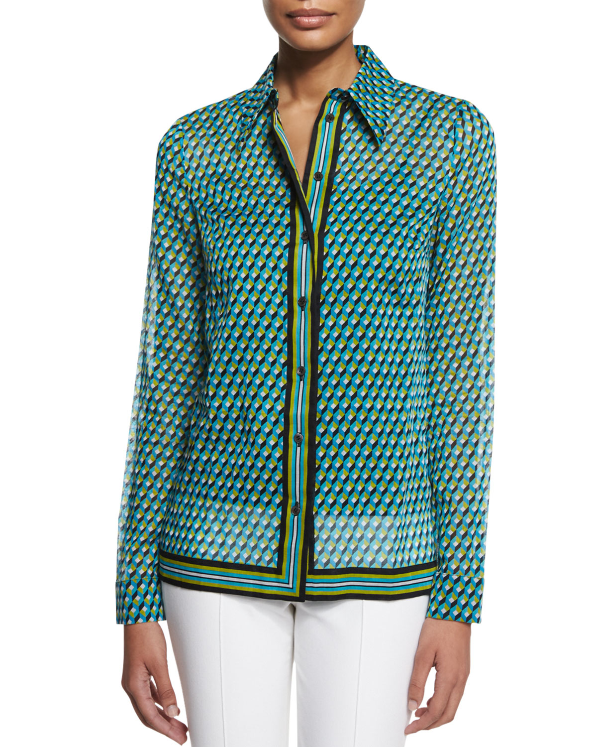 michael kors deco print button down shirt in blue lyst