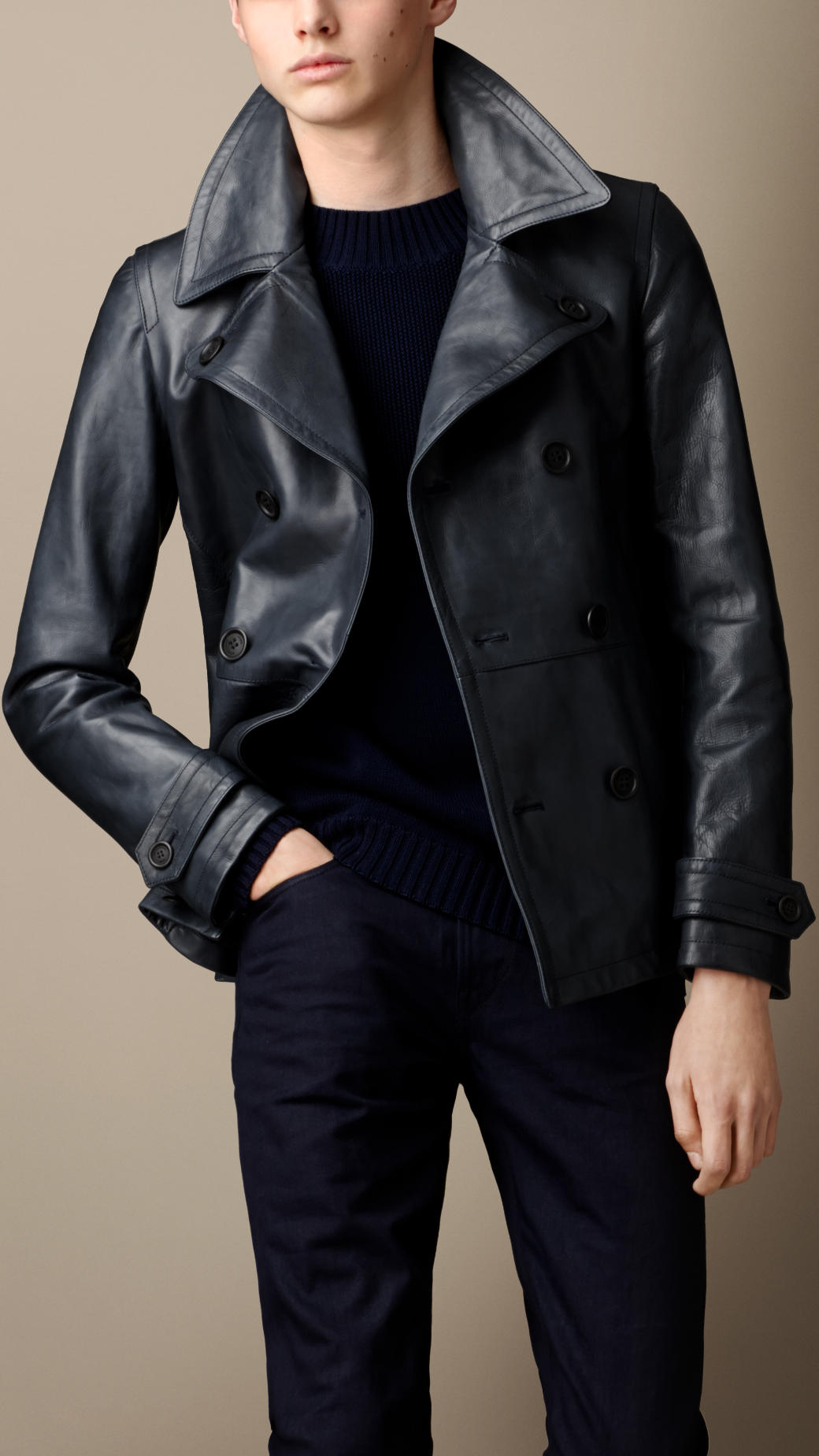 Burberry Leather Pea Coat in Blue for Men | Lyst