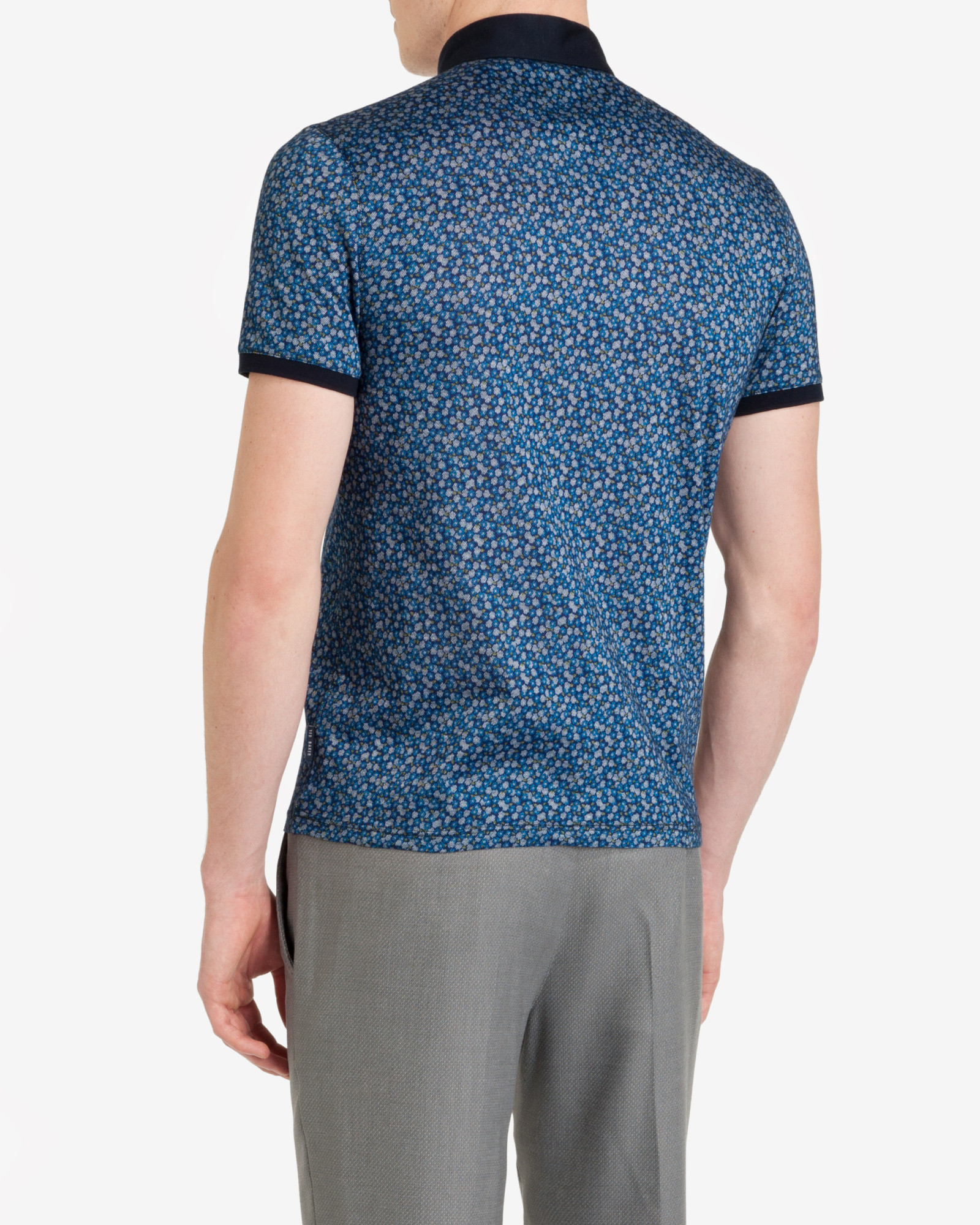 Ted baker flowbo floral print polo shirt in blue for men for Ted baker floral print shirt