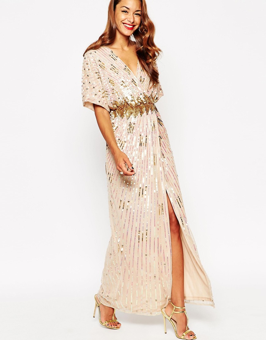 Asos Red Carpet Kimono Holographic Sequin Maxi Dress in Metallic ...