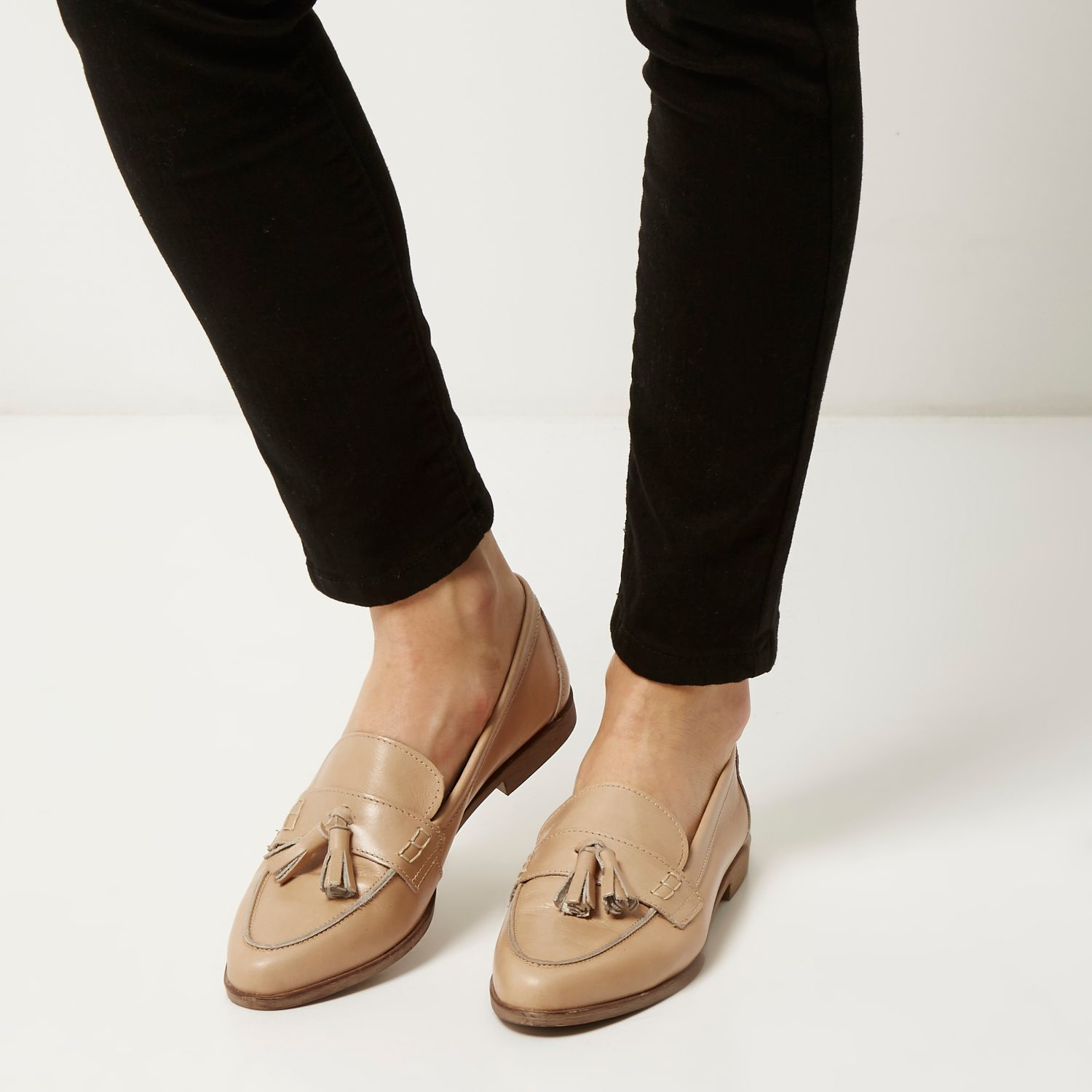 River Island Suede Loafer With Tassels In Pink outlet amazon rrShFCb
