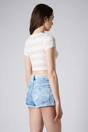 978566a35f80e7 TOPSHOP Petite Bobble Lace Crop Tee in Natural - Lyst