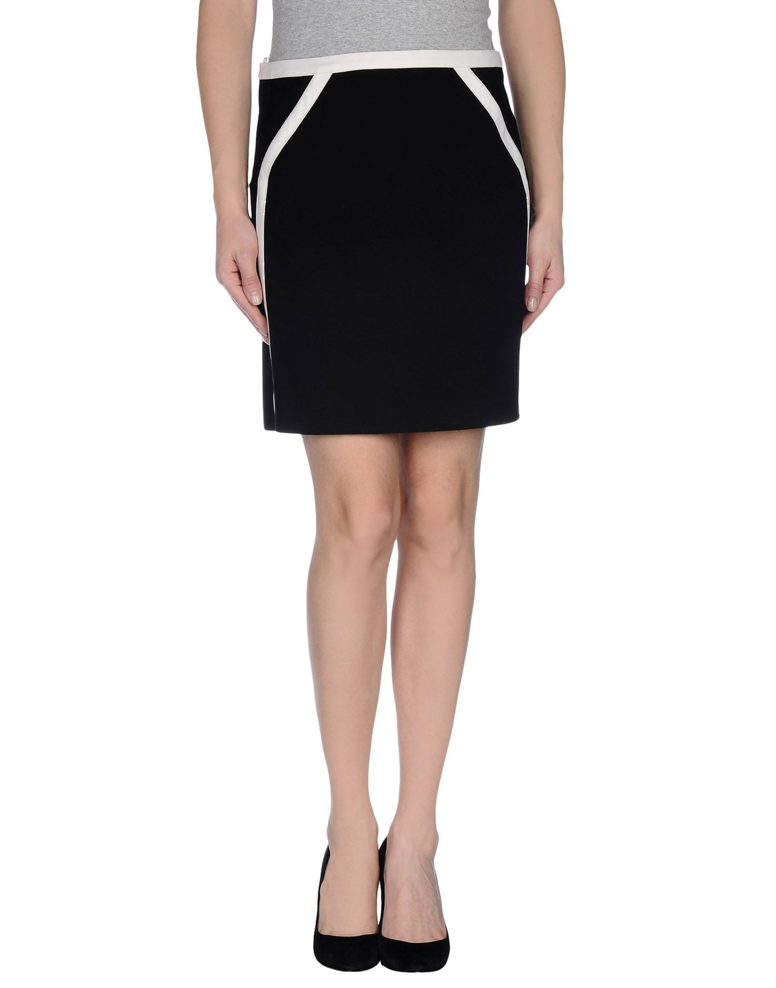 courreges knee length skirt in black lyst