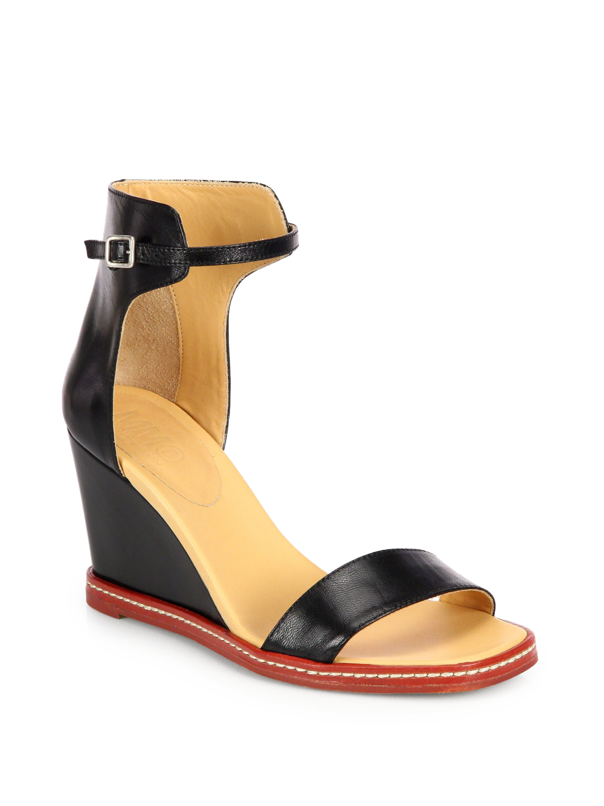 Mm6 By Maison Martin Margiela Leather Wedge Ankle-Strap ...