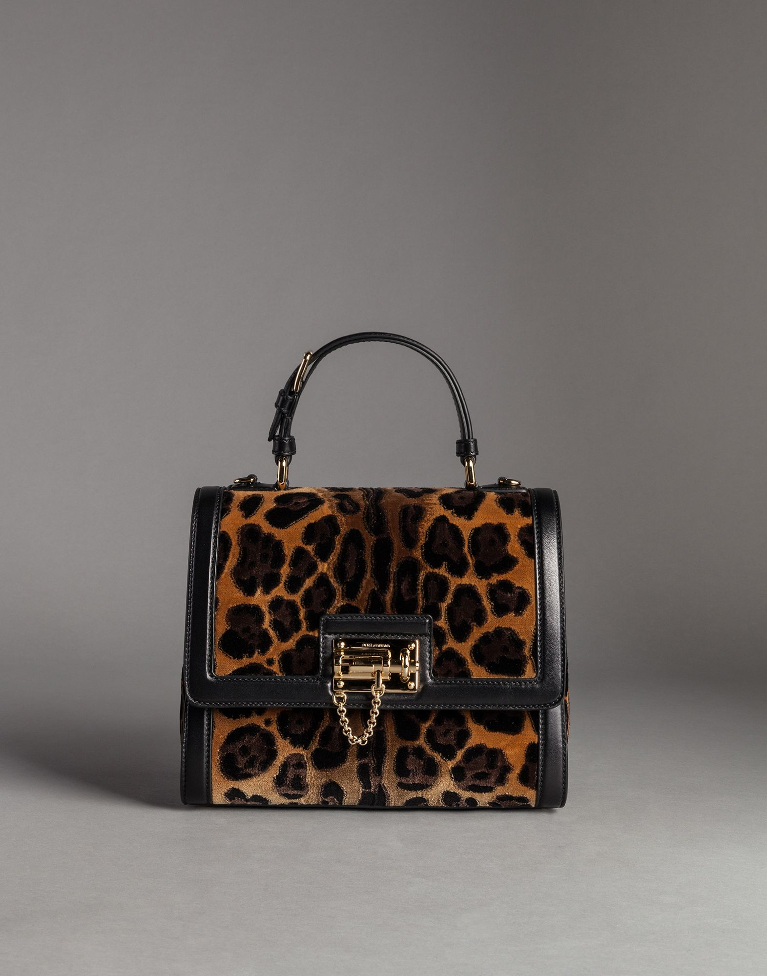 Lyst - Dolce   Gabbana Nappa Leather And Velvet Leo Print Monica Bag c026309b4e707