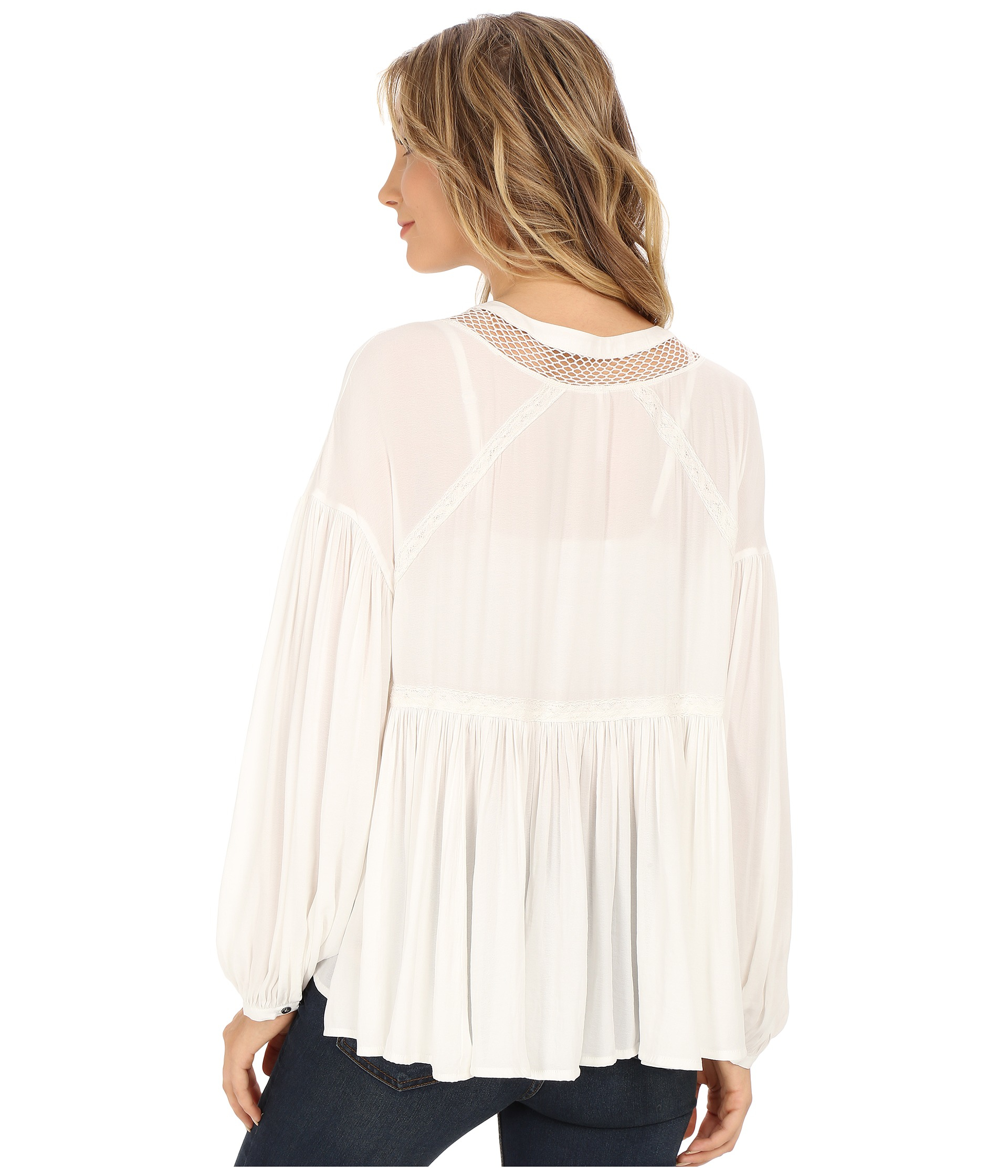 Free People Don T Let Go Peasant Top In White Lyst