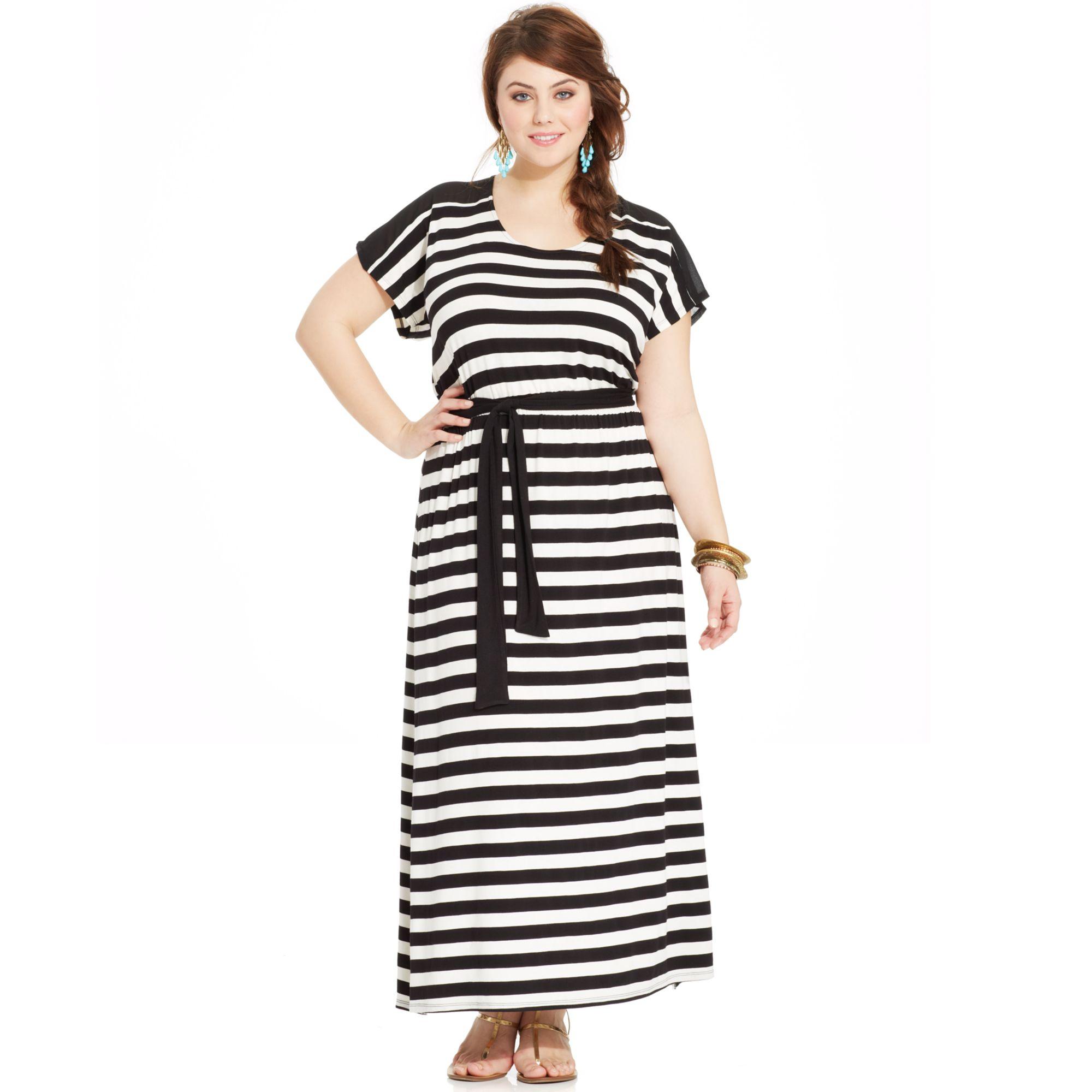Lyst - American rag Plus Size Striped Cutoutback Maxi Dress in Black