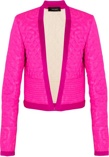 Isabel Marant Kade Quilted Silk Jacquard Jacket In Pink Lyst