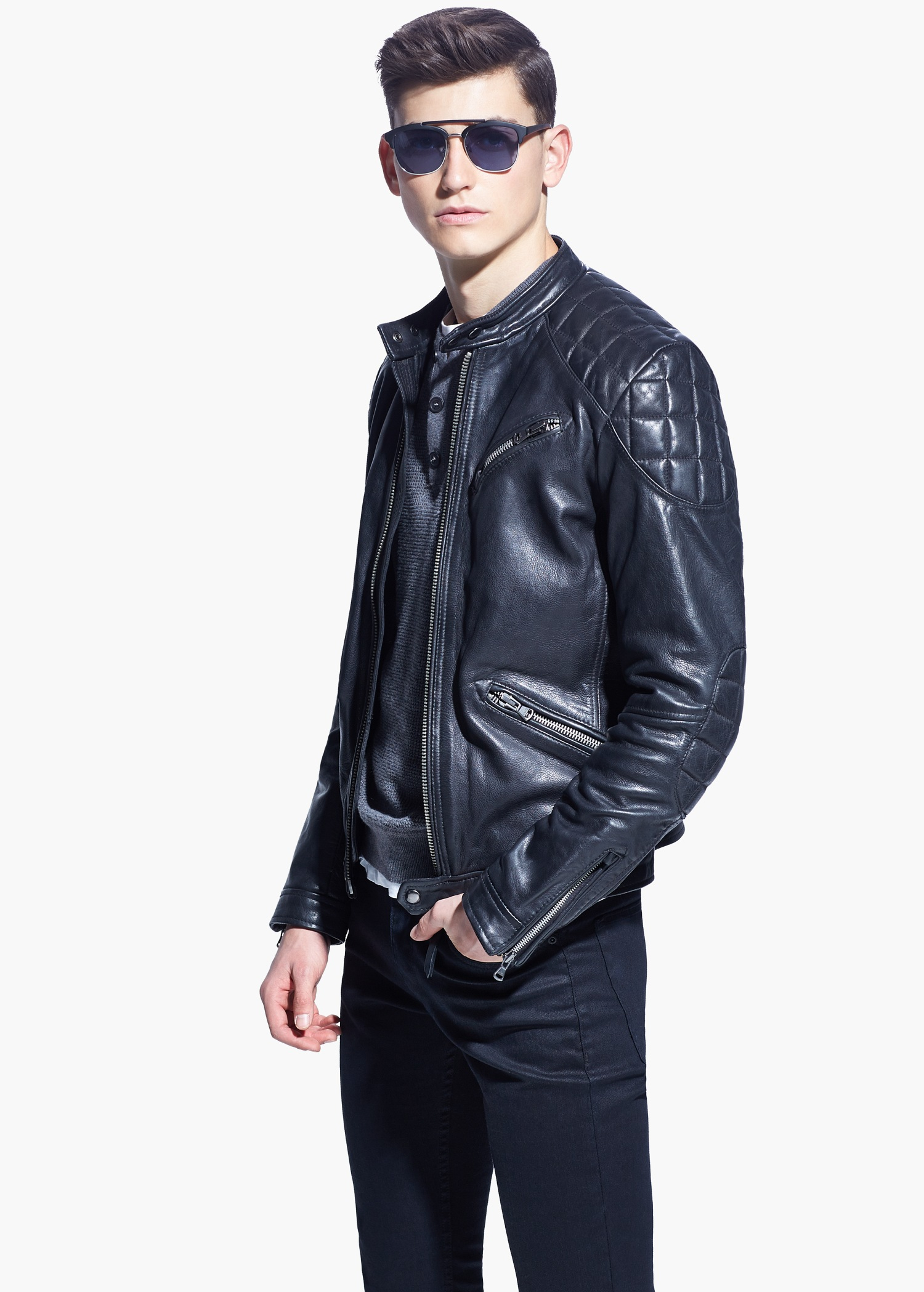 Mango Quilted Panel Leather Jacket In Blue For Men Lyst