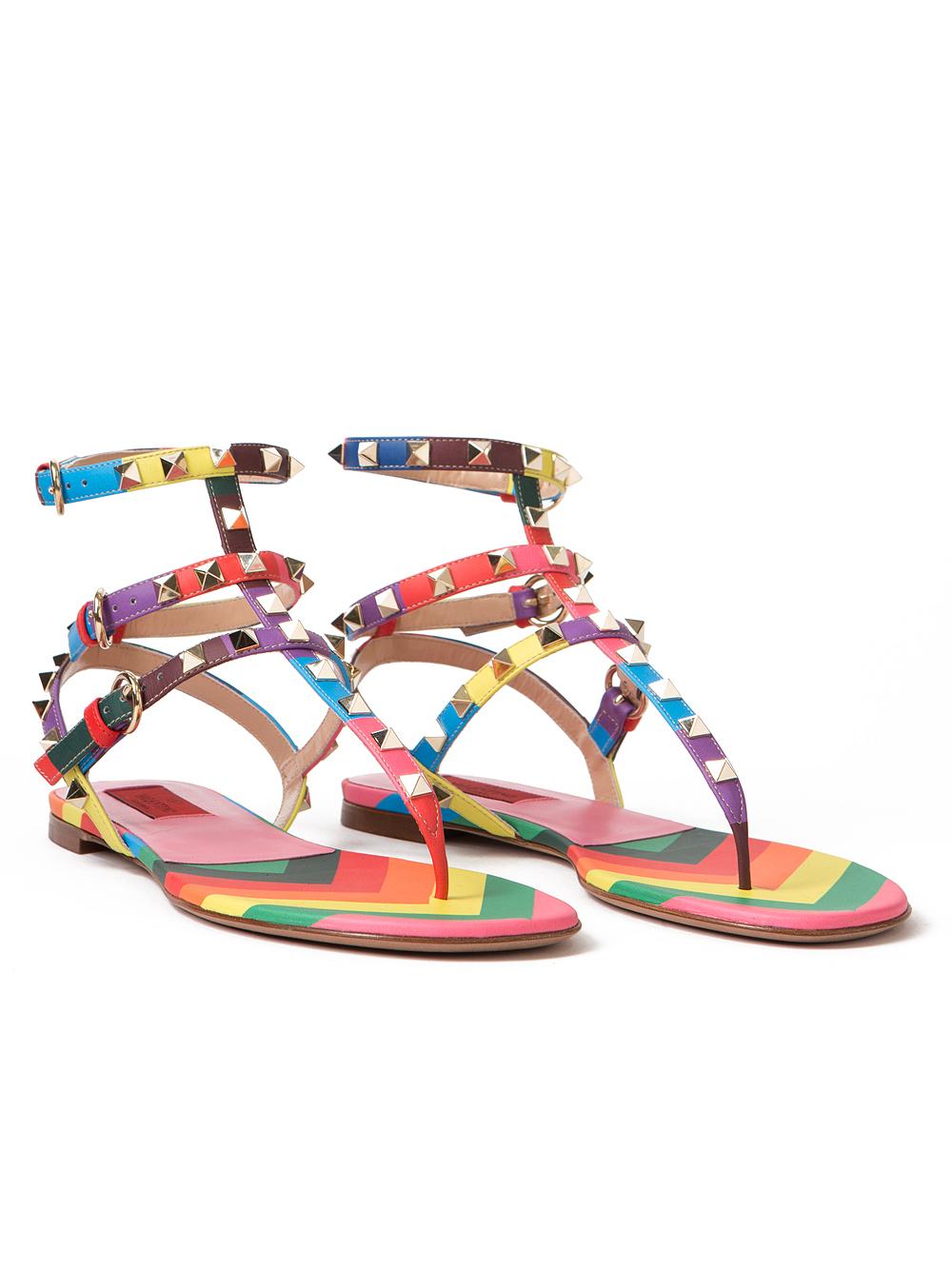 69435920b2f6 Lyst - Valentino Rainbow Rockstud Gladiator Sandals