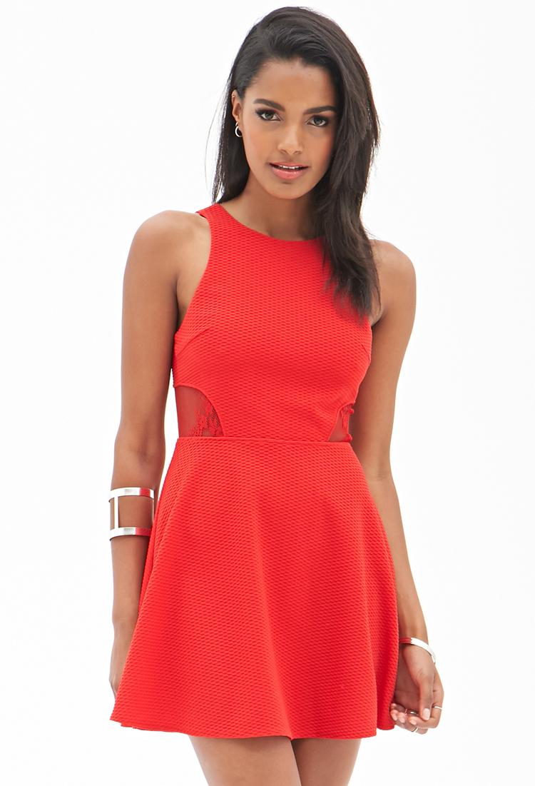 Forever 21 Matelassã© Lace Skater Dress in Red | Lyst