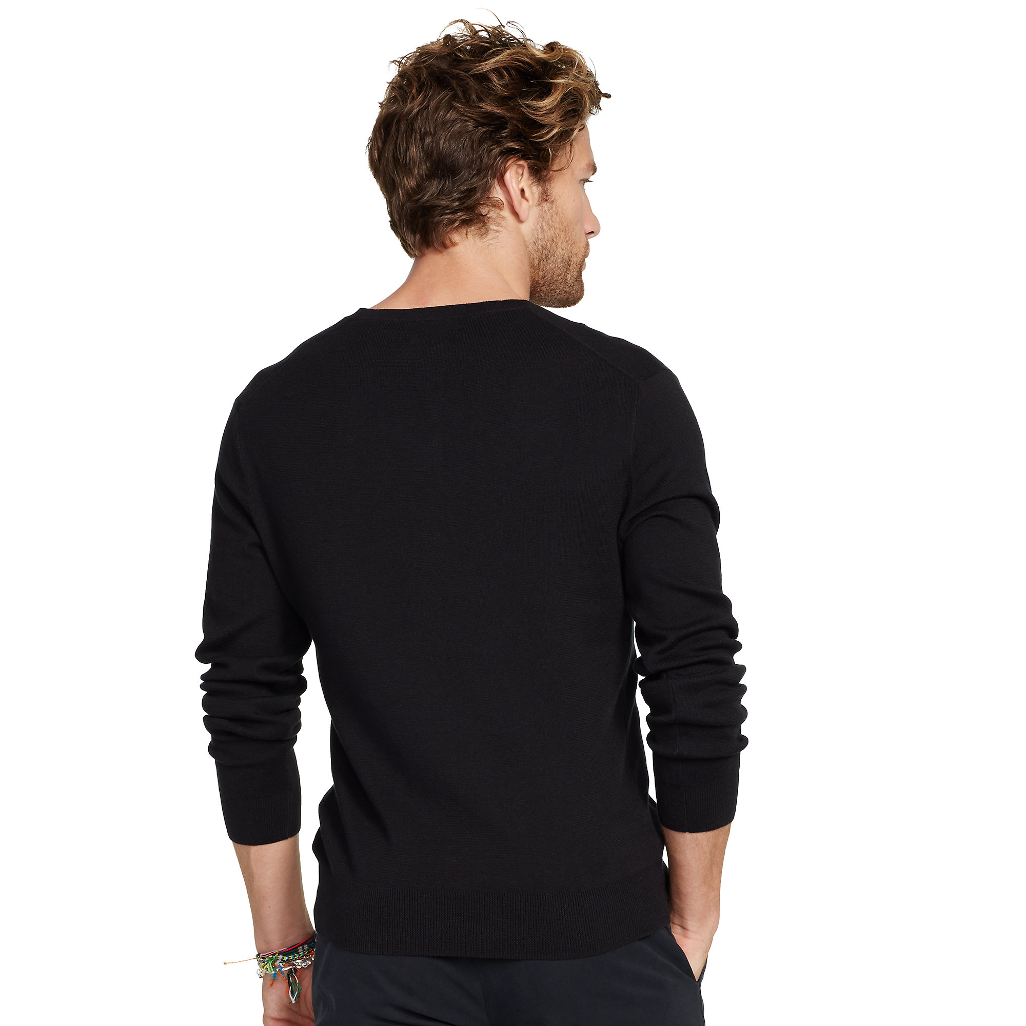polo ralph lauren slim fit v neck sweater in black for men lyst. Black Bedroom Furniture Sets. Home Design Ideas