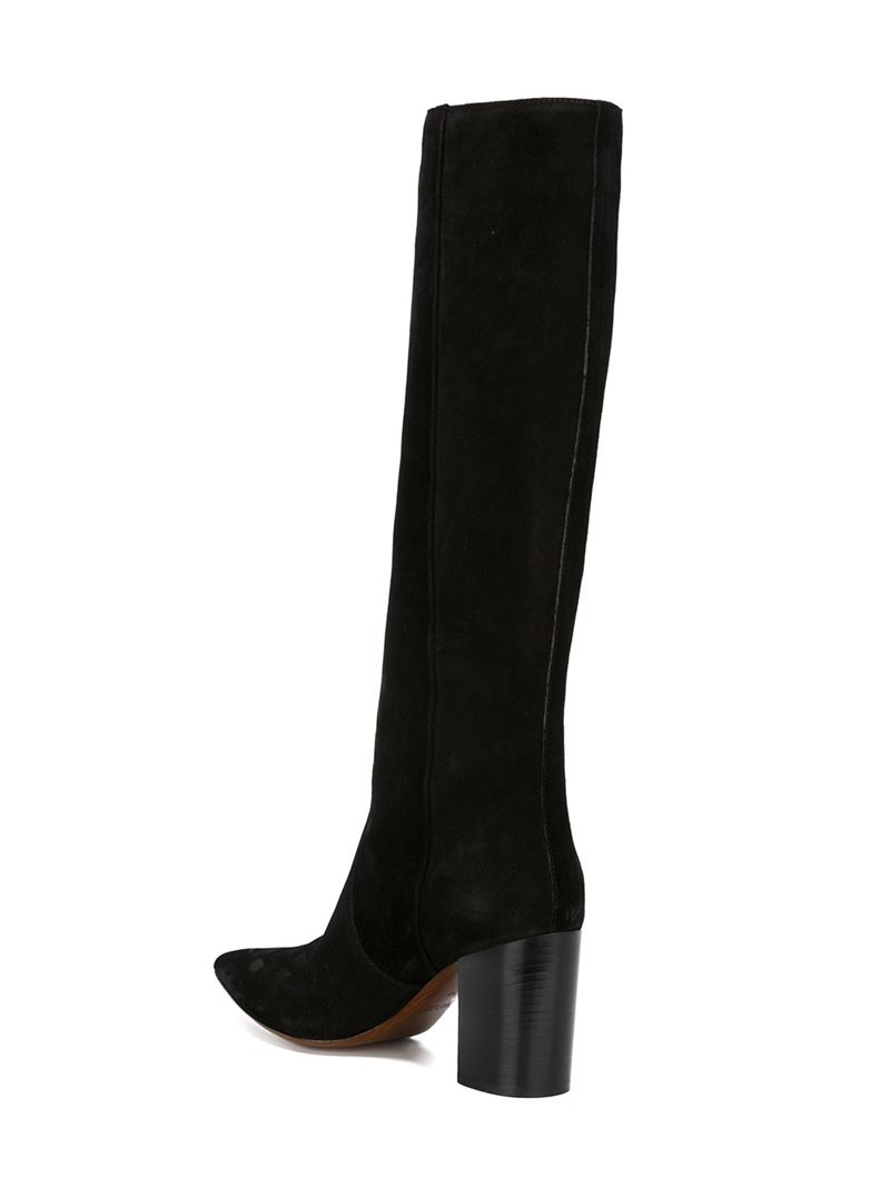 costume national knee length suede and leather boots in