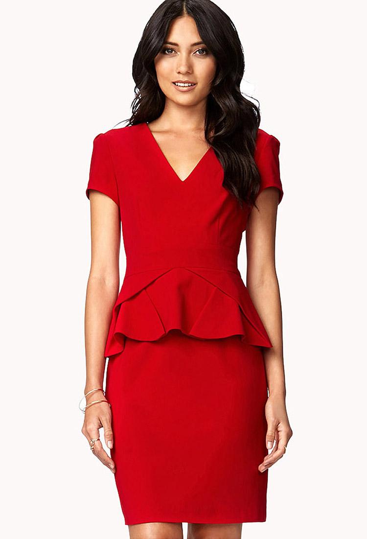 forever 21 folded peplum dress in red lyst