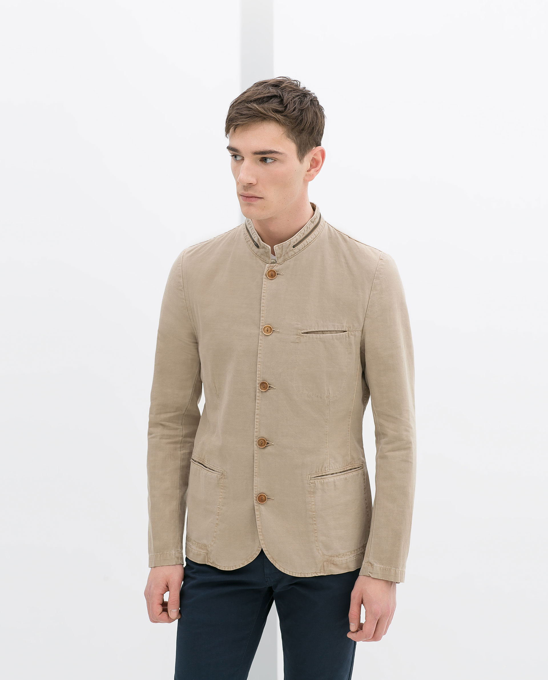 Zara Cotton and Linen Blazer in Natural for Men | Lyst