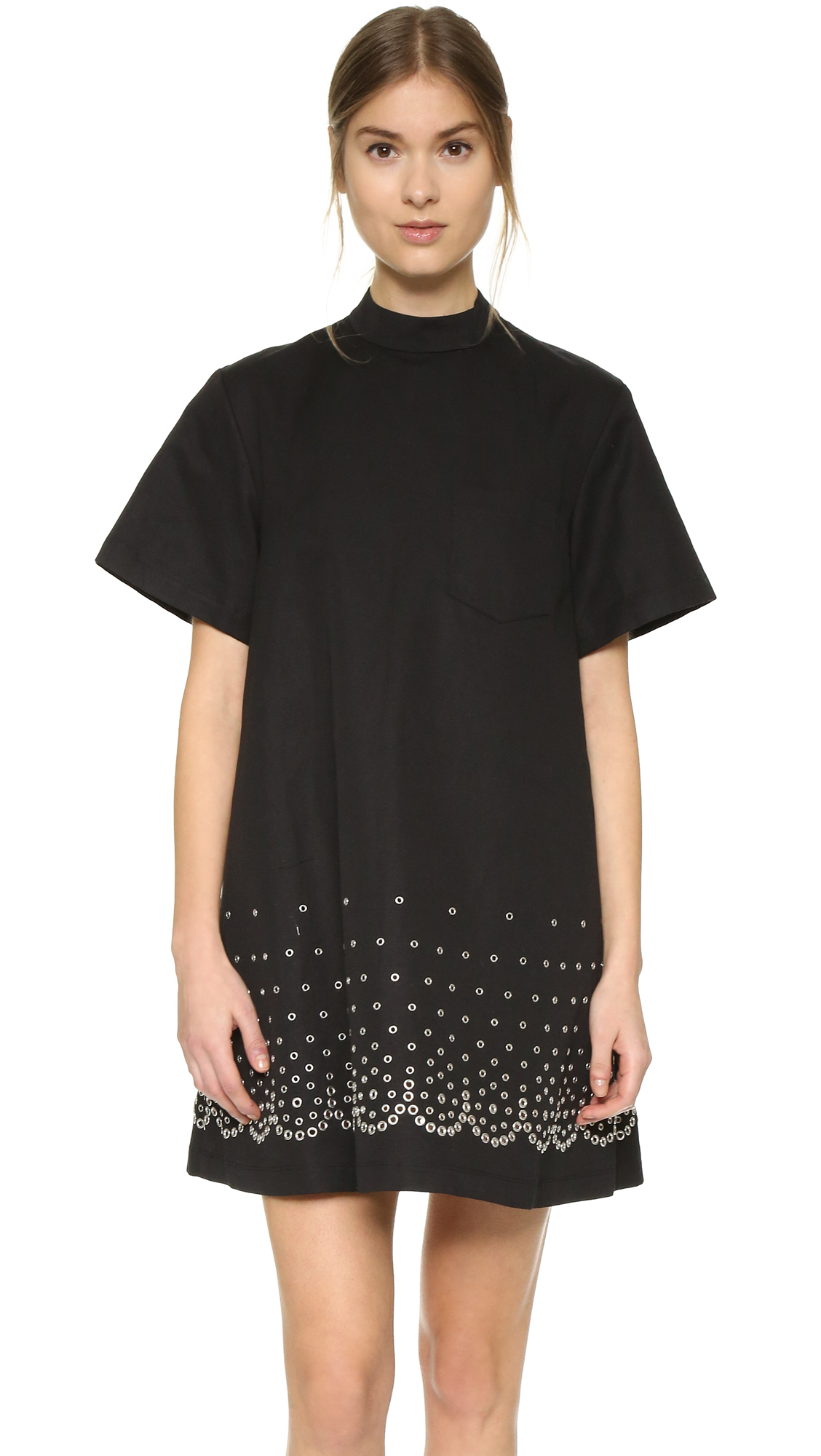 alexander wang mock neck t shirt dress in black lyst