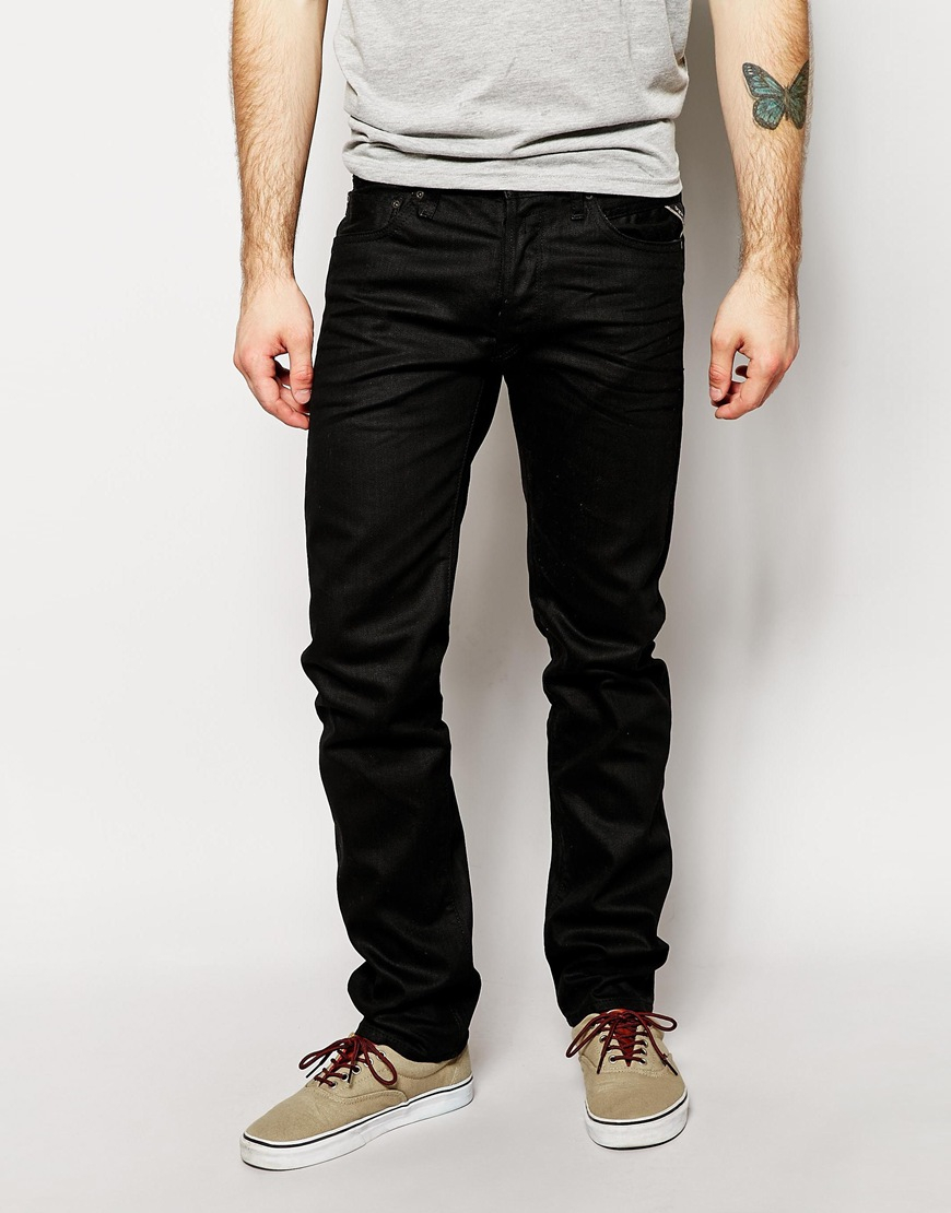 replay jeans lenrick regular tapered fit stretch black resin in black for men lyst. Black Bedroom Furniture Sets. Home Design Ideas