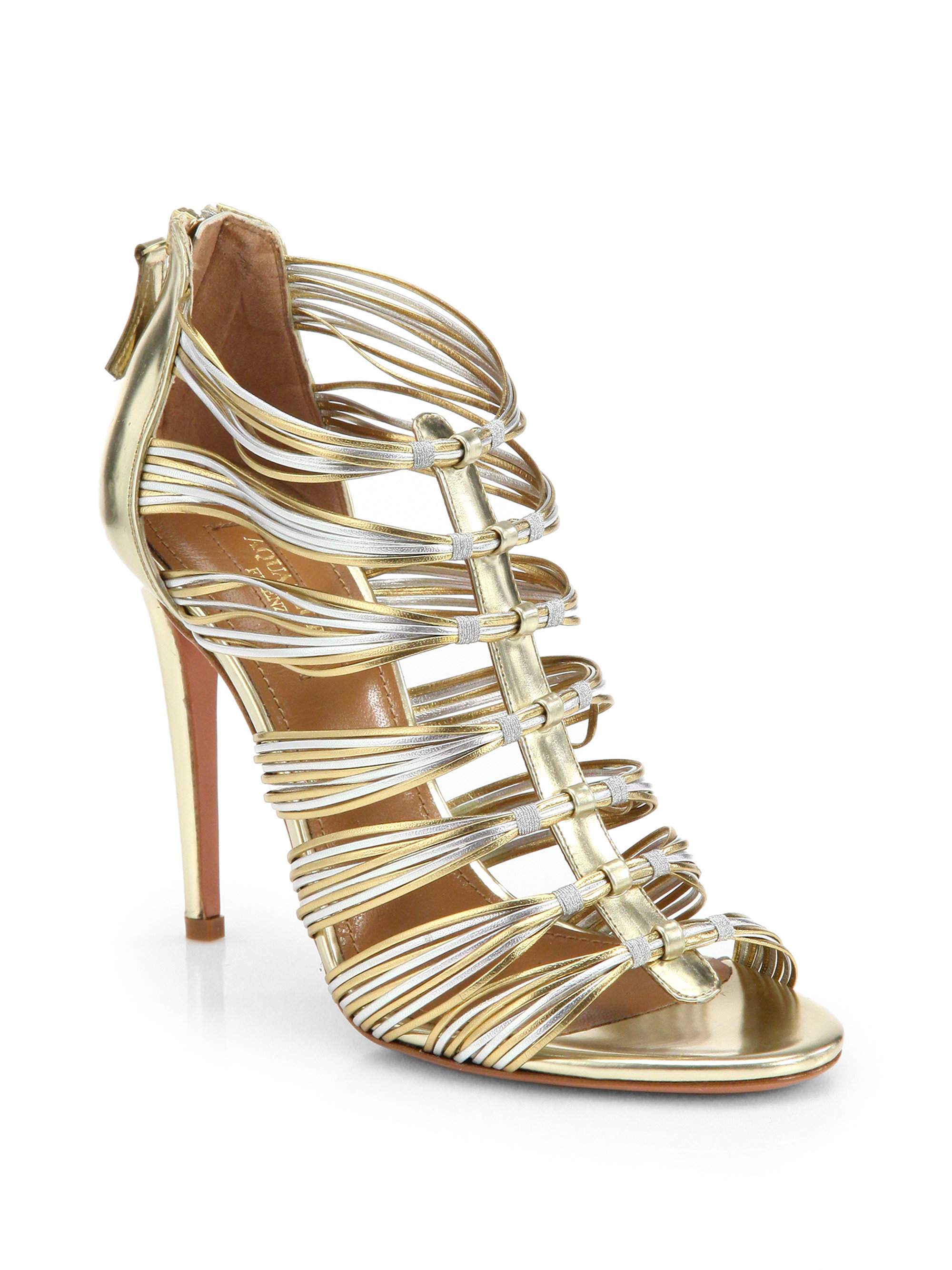 Aquazzura Leather Cage Sandals cheap sale for cheap qKrRx
