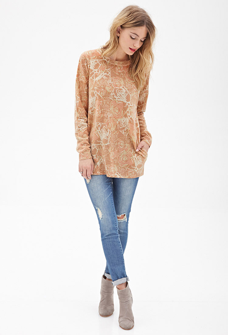 Forever 21 Oversized Rose Print Sweater in Pink