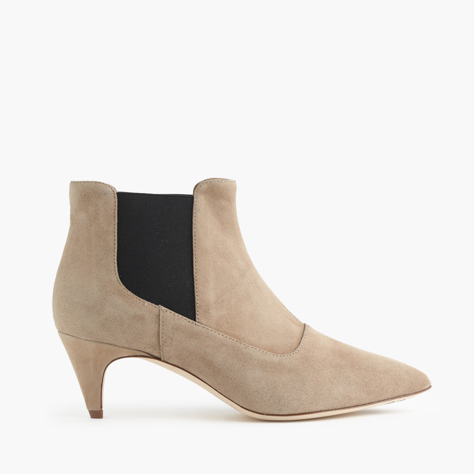suede kitten heel chelsea boots in beige pale umber lyst. Black Bedroom Furniture Sets. Home Design Ideas