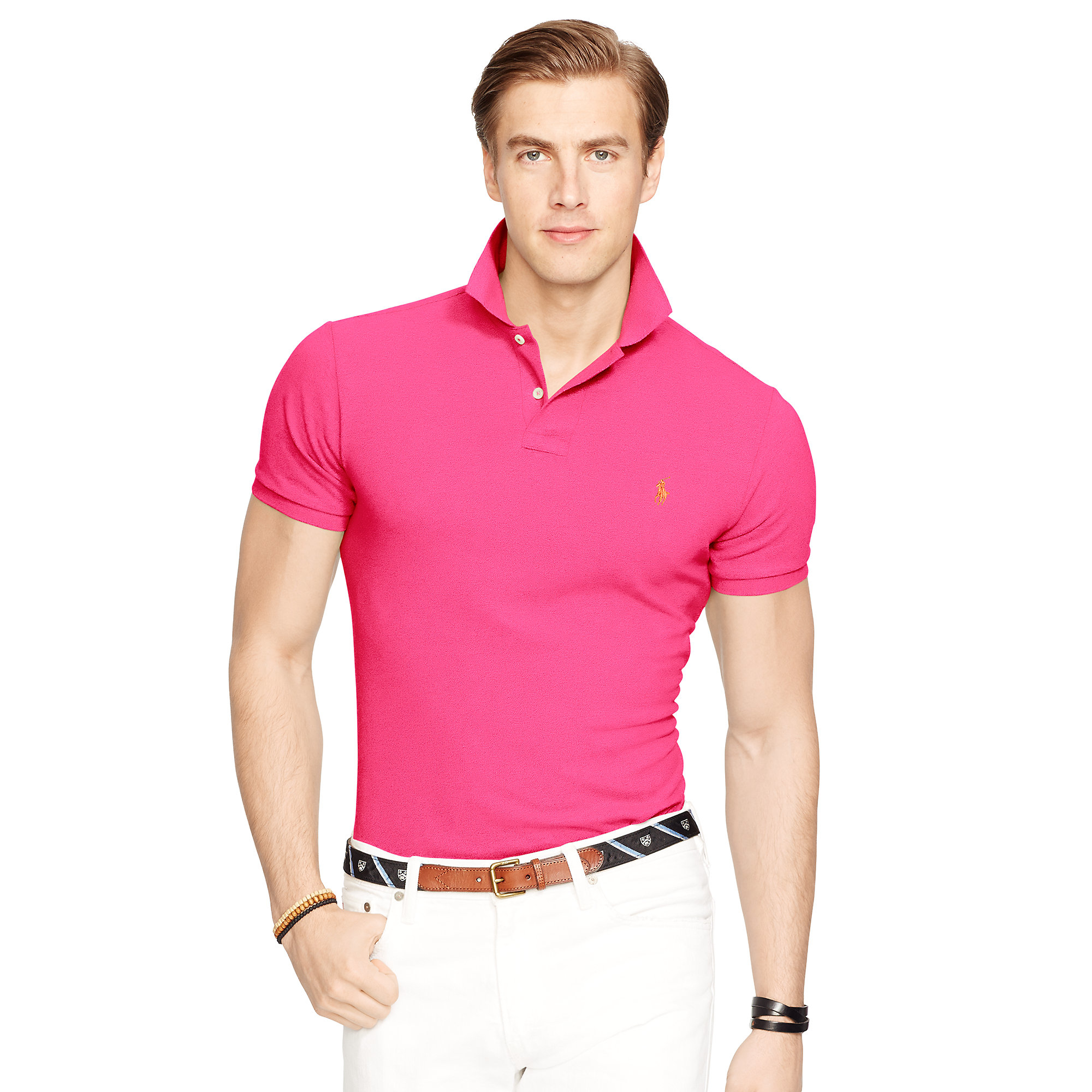 Polo ralph lauren slim fit mesh polo shirt in pink for men for Mens slim fit polo shirt