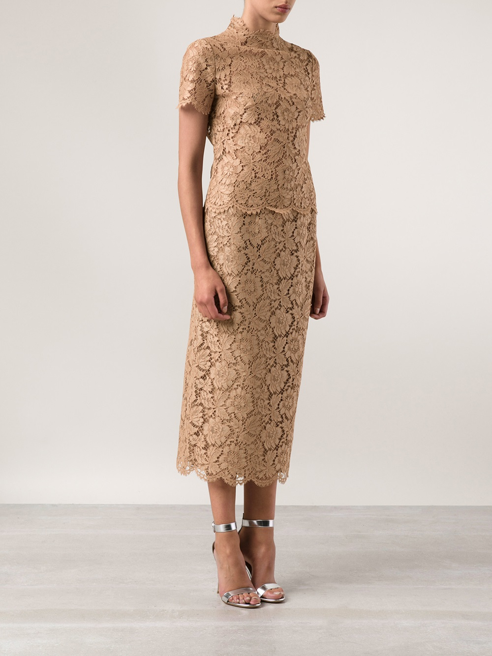 Valentino Long Lace Pencil Skirt in Natural | Lyst