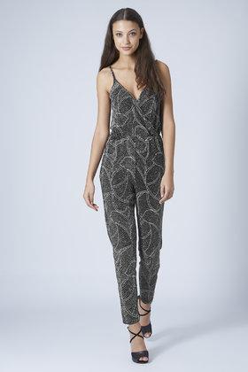 f9b951d3a6b0 Lyst - TOPSHOP Petite Glitter Leaf Wrap Jumpsuit in Metallic