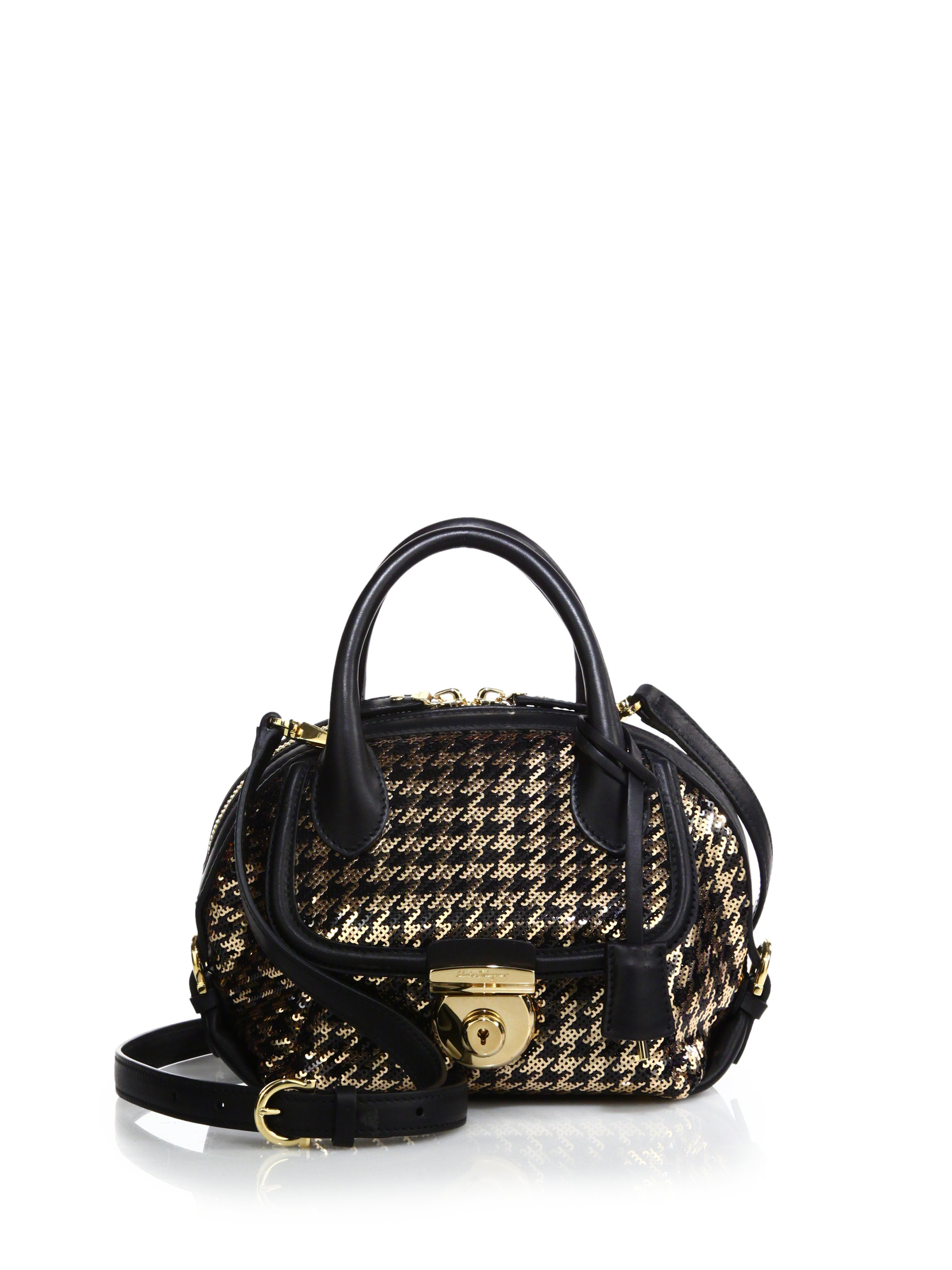 2333be1a7bf6 Lyst - Ferragamo Fiamma Mini Sequined Houndstooth Satchel in Metallic
