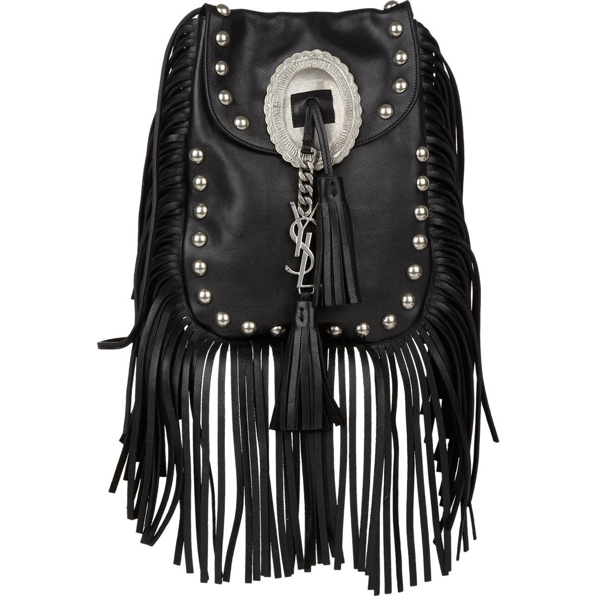 replica yves saint laurent handbags - anita mini flat suede shoulder bag with fringe, black