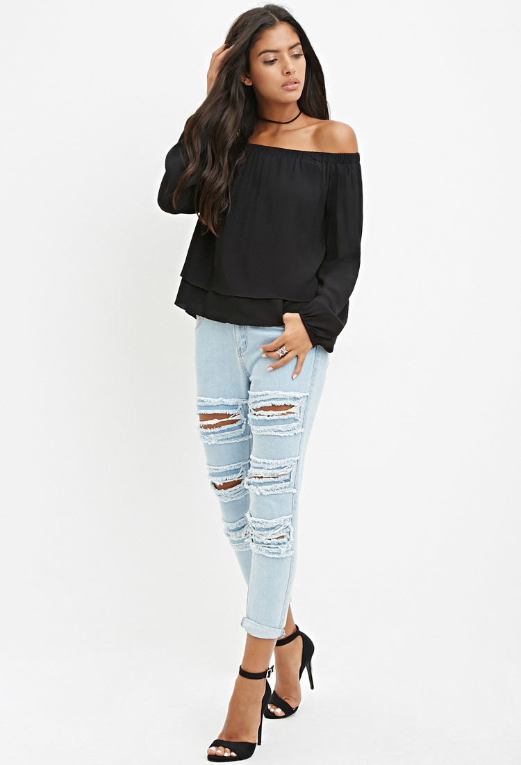 697419d6353ce3 Lyst - Forever 21 Off-the-shoulder Layered Top in Black