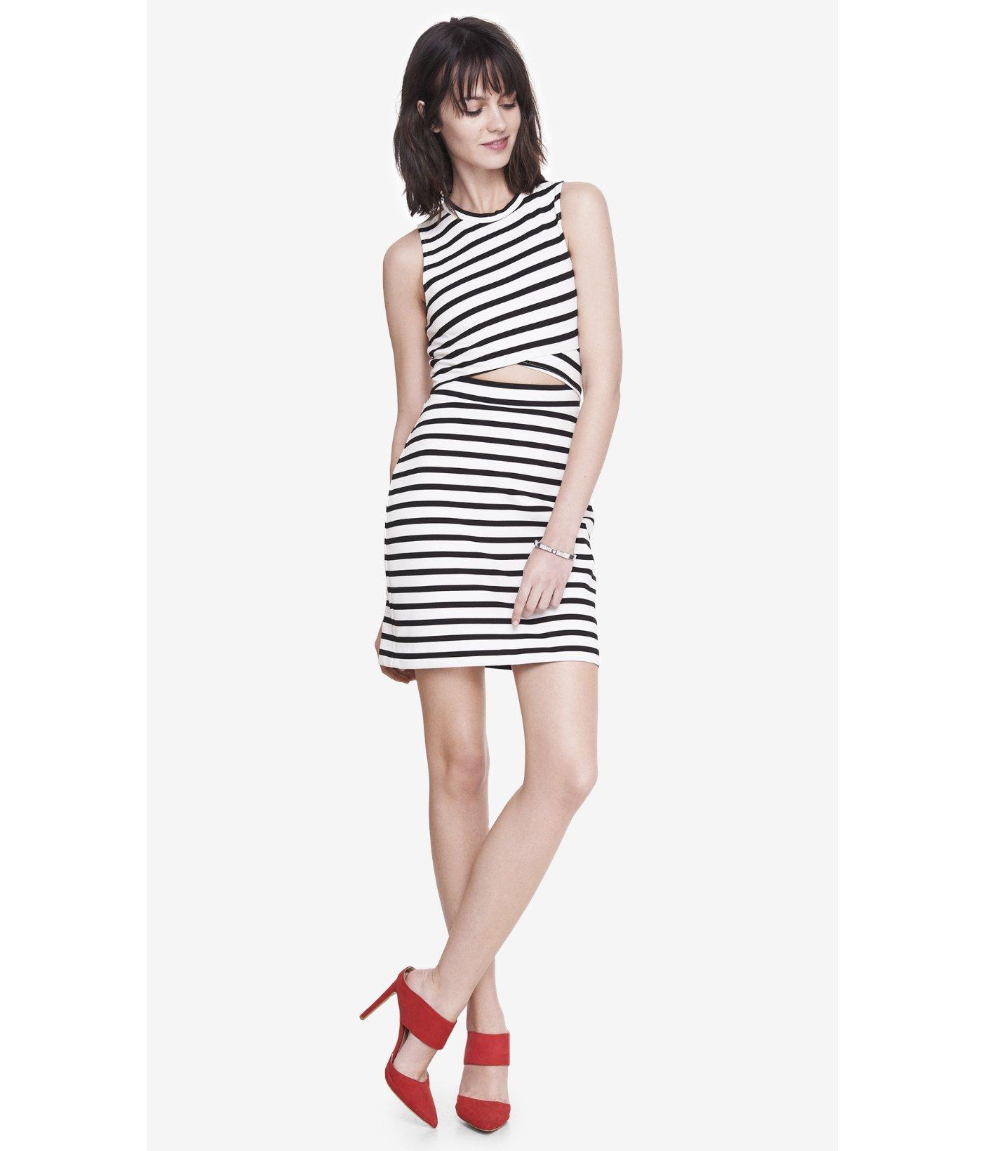Lyst - Express Striped Cut-out Mini Sheath Dress in Black 4814b37b1