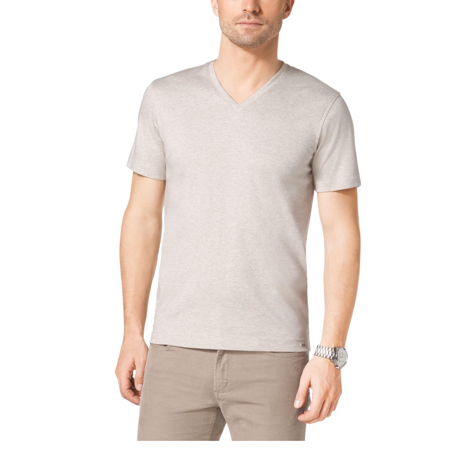 michael kors v neck cotton t shirt in brown for men lyst. Black Bedroom Furniture Sets. Home Design Ideas