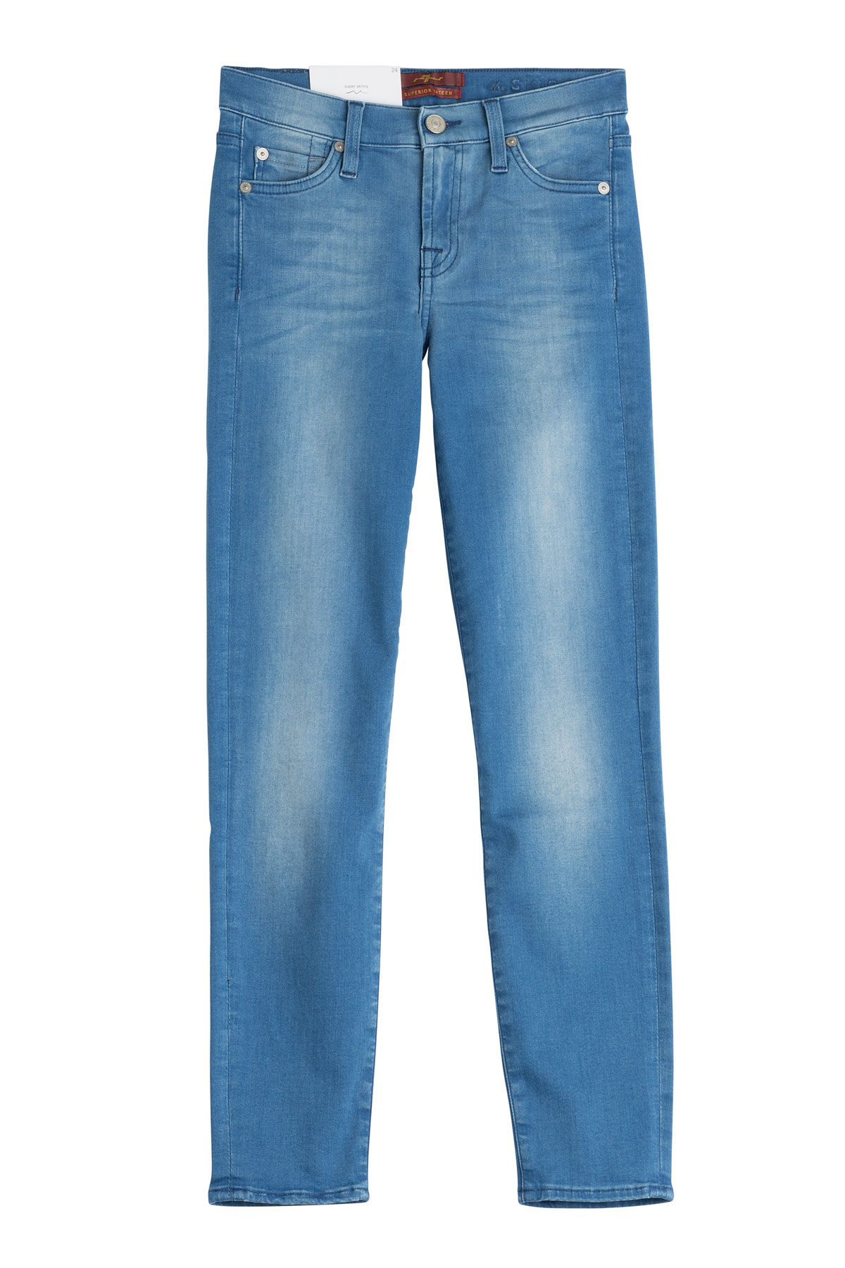 for all mankind stretch cotton skinny jeans blue in blue lyst. Black Bedroom Furniture Sets. Home Design Ideas
