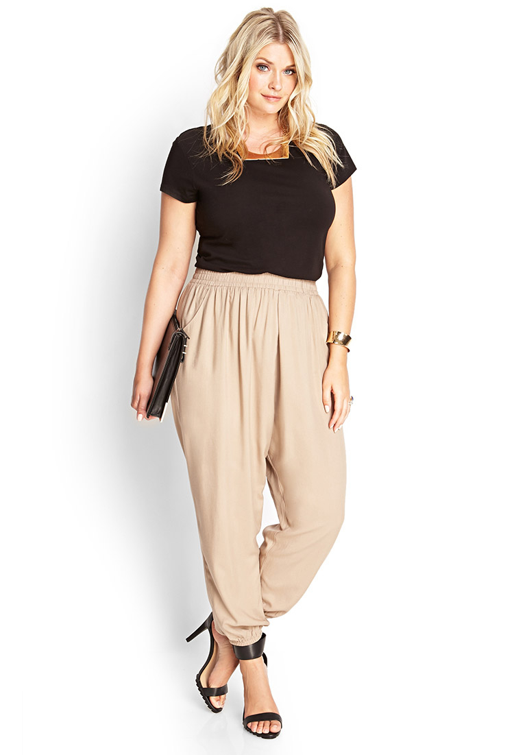 af6639a51ca Lyst - Forever 21 Plus Size Classic Woven Joggers in Natural