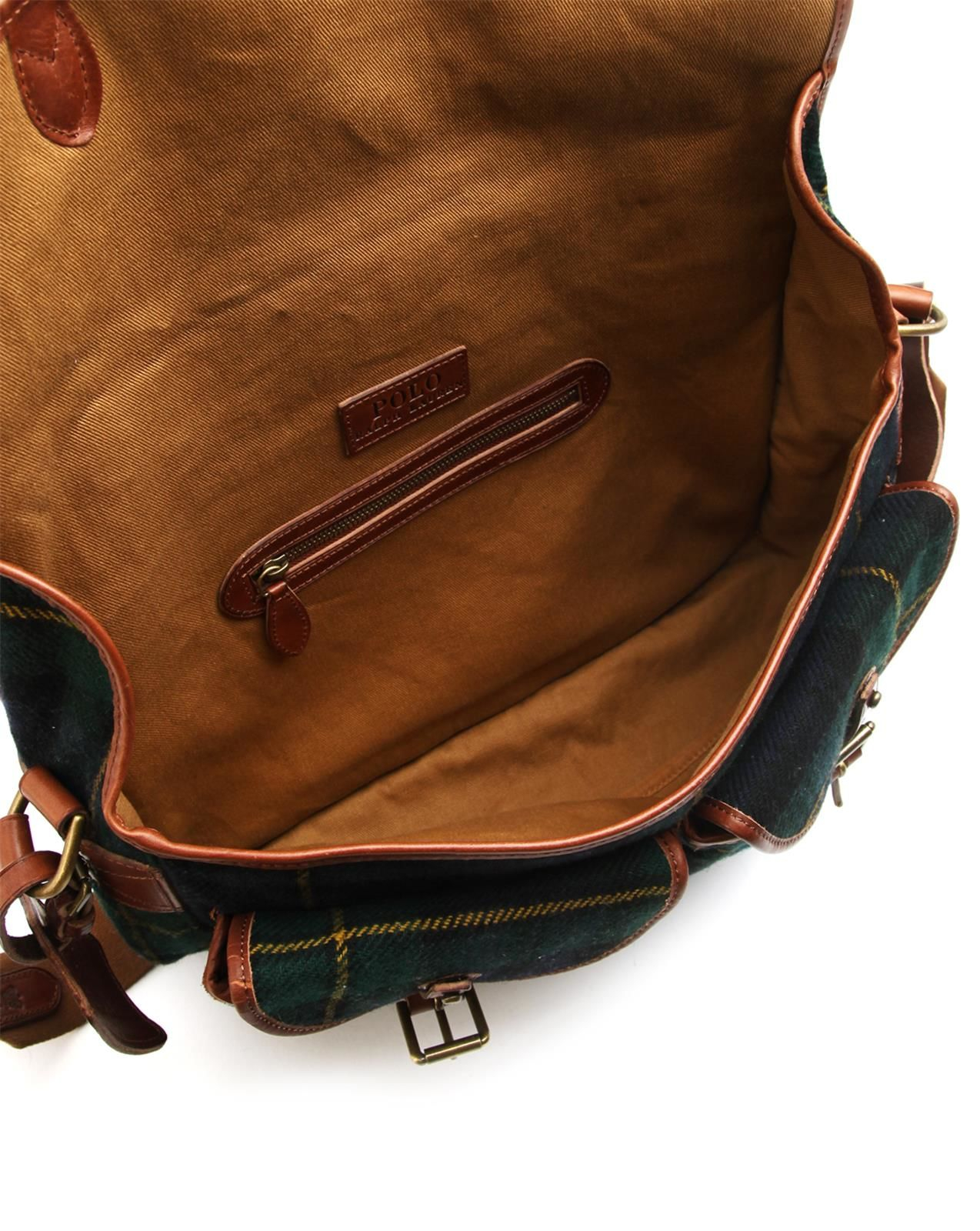 Polo Ralph Lauren | Leather And Tartan Wool Shoulder Bag | Lyst