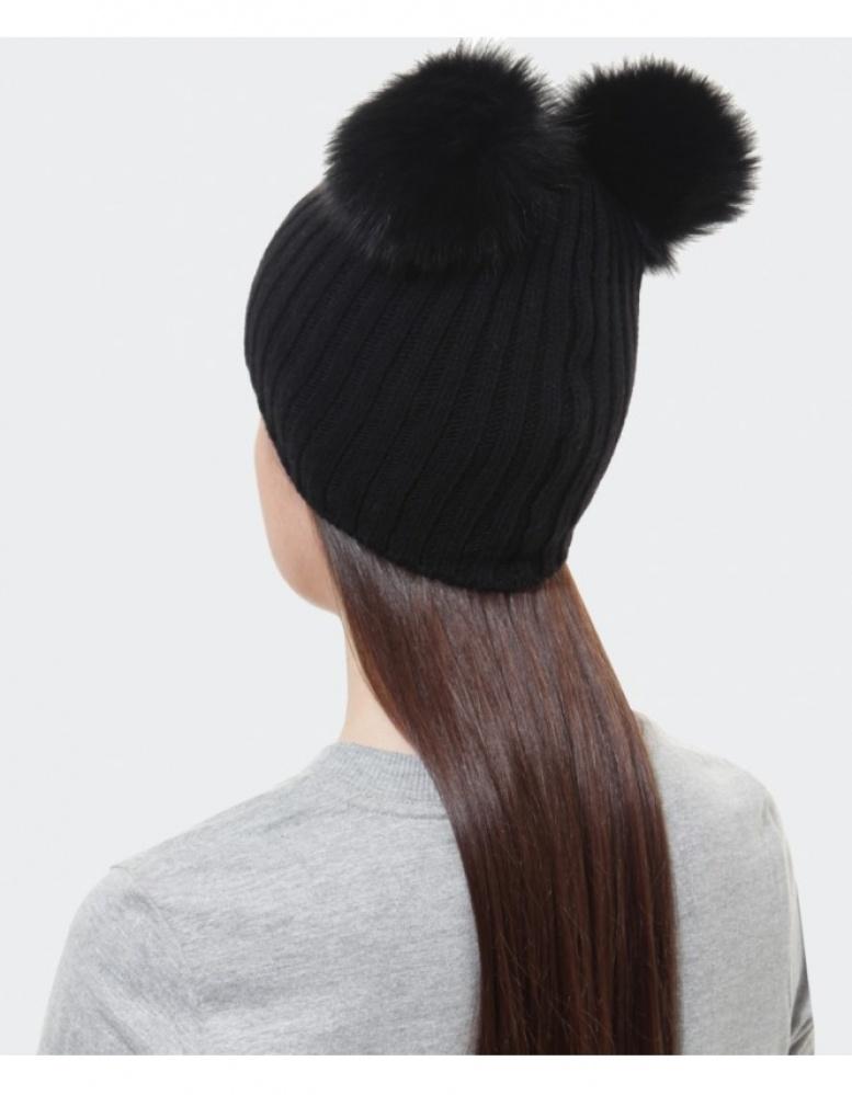 Lyst - Helene Berman Double Pom Pom Beanie Hat in Black 32b9a132c1e