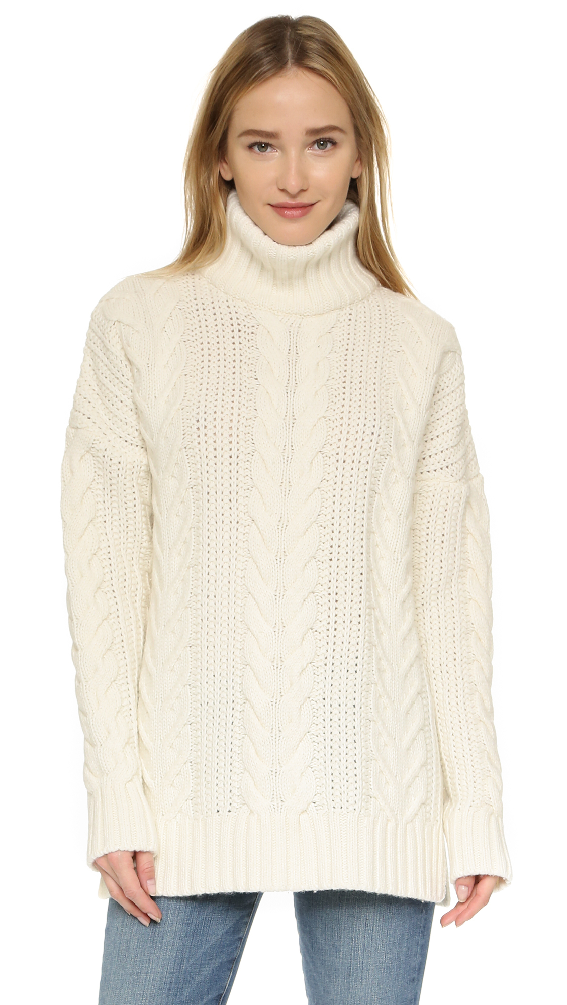 Anine bing White Turtleneck Sweater - White in White | Lyst