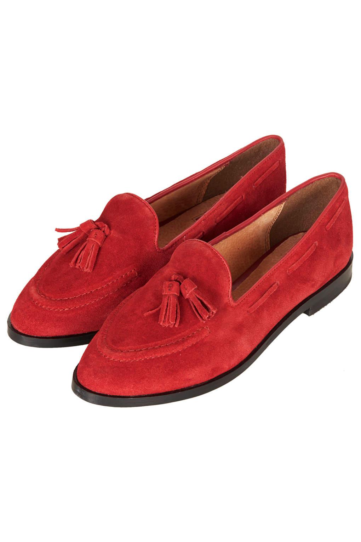 Lyst Topshop Kiki Suede Tassel Loafers In Red