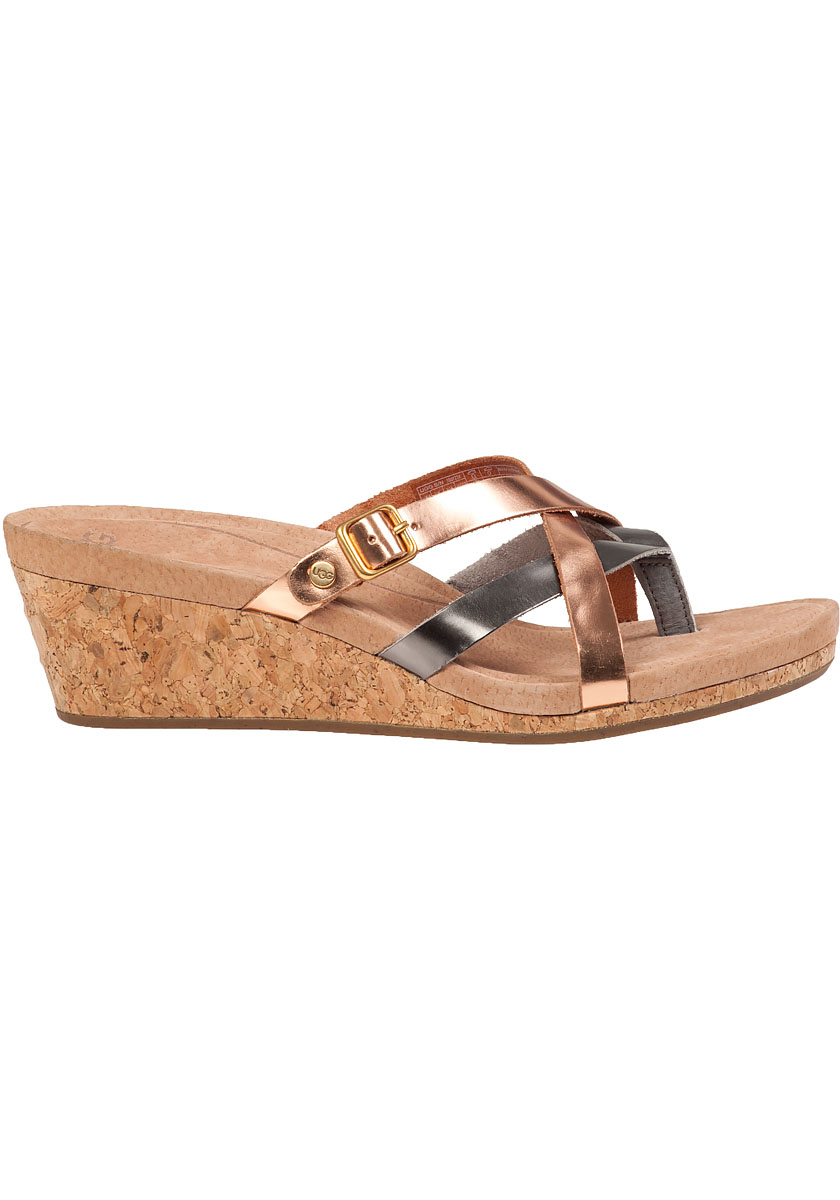 Lyst Ugg Adalie Wedge Sandal Rose Gold Leather In Pink