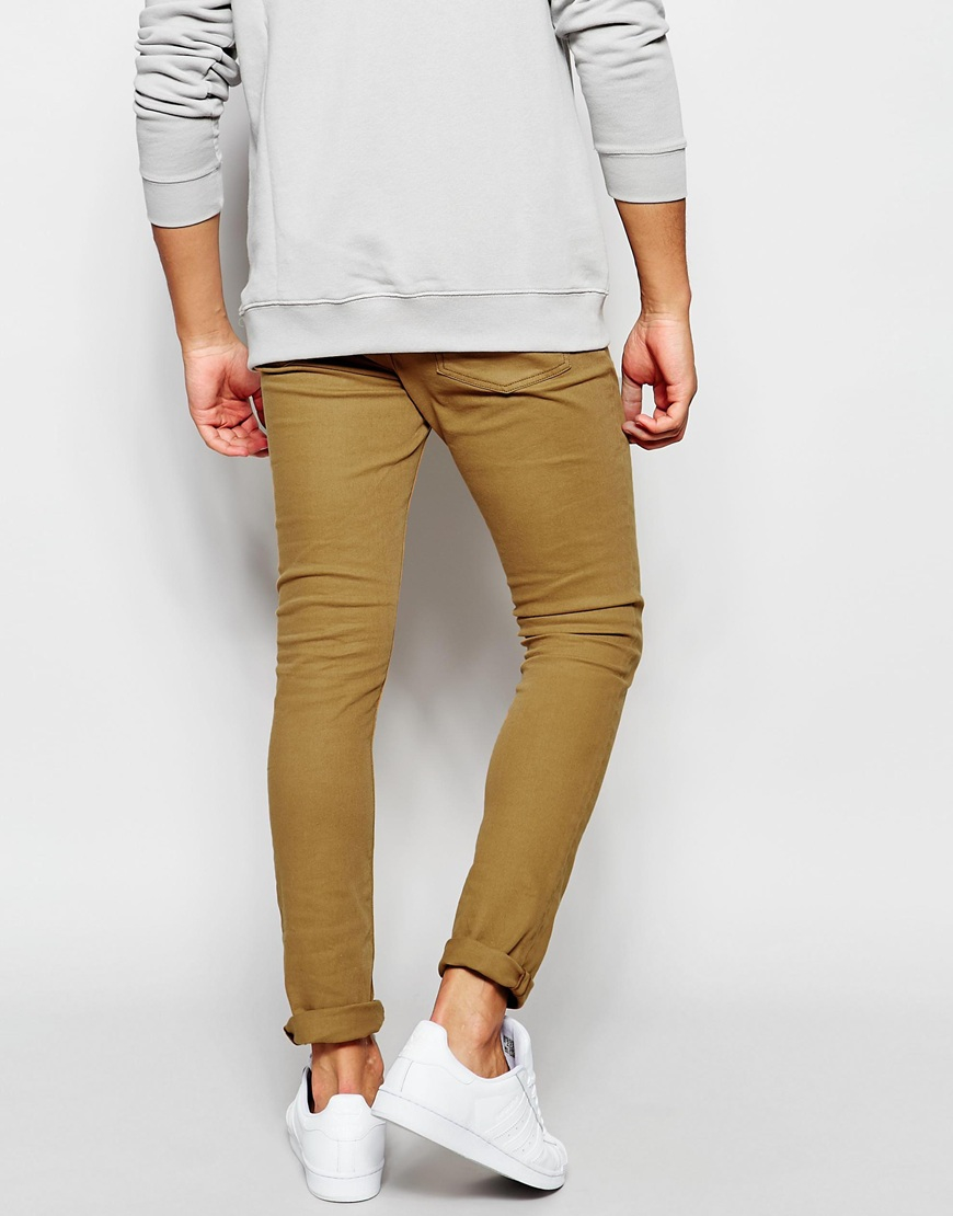 Asos Super Skinny Jeans In Dark Tan in Brown for Men | Lyst