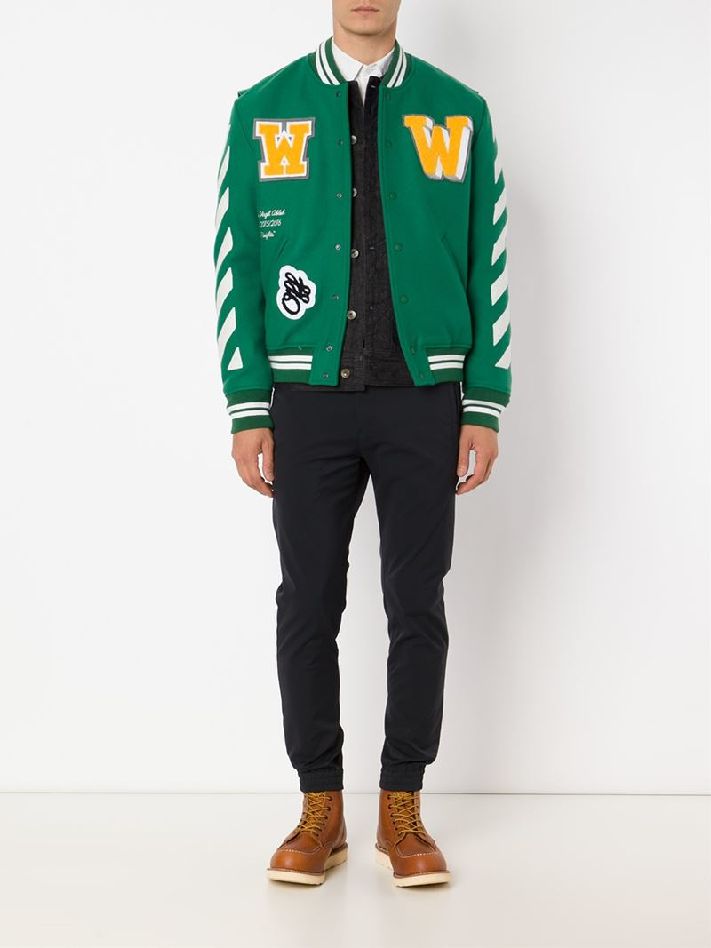Off White C O Virgil Abloh Striped Varsity Jacket In Green