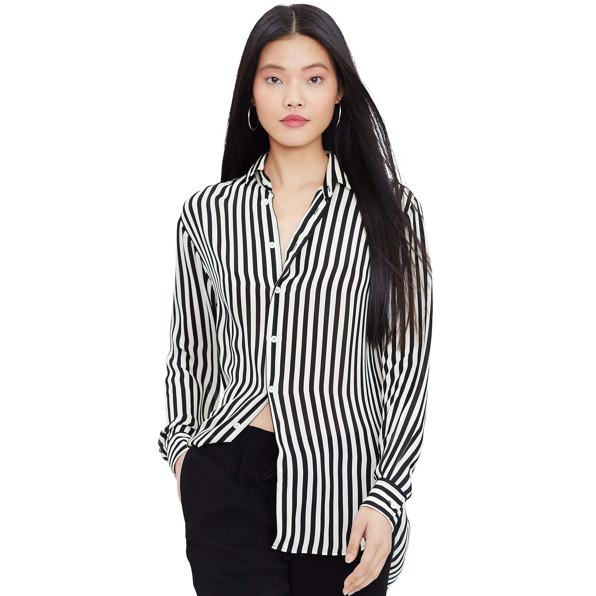 Polo ralph lauren Striped Silk Button-down Shirt in Black | Lyst